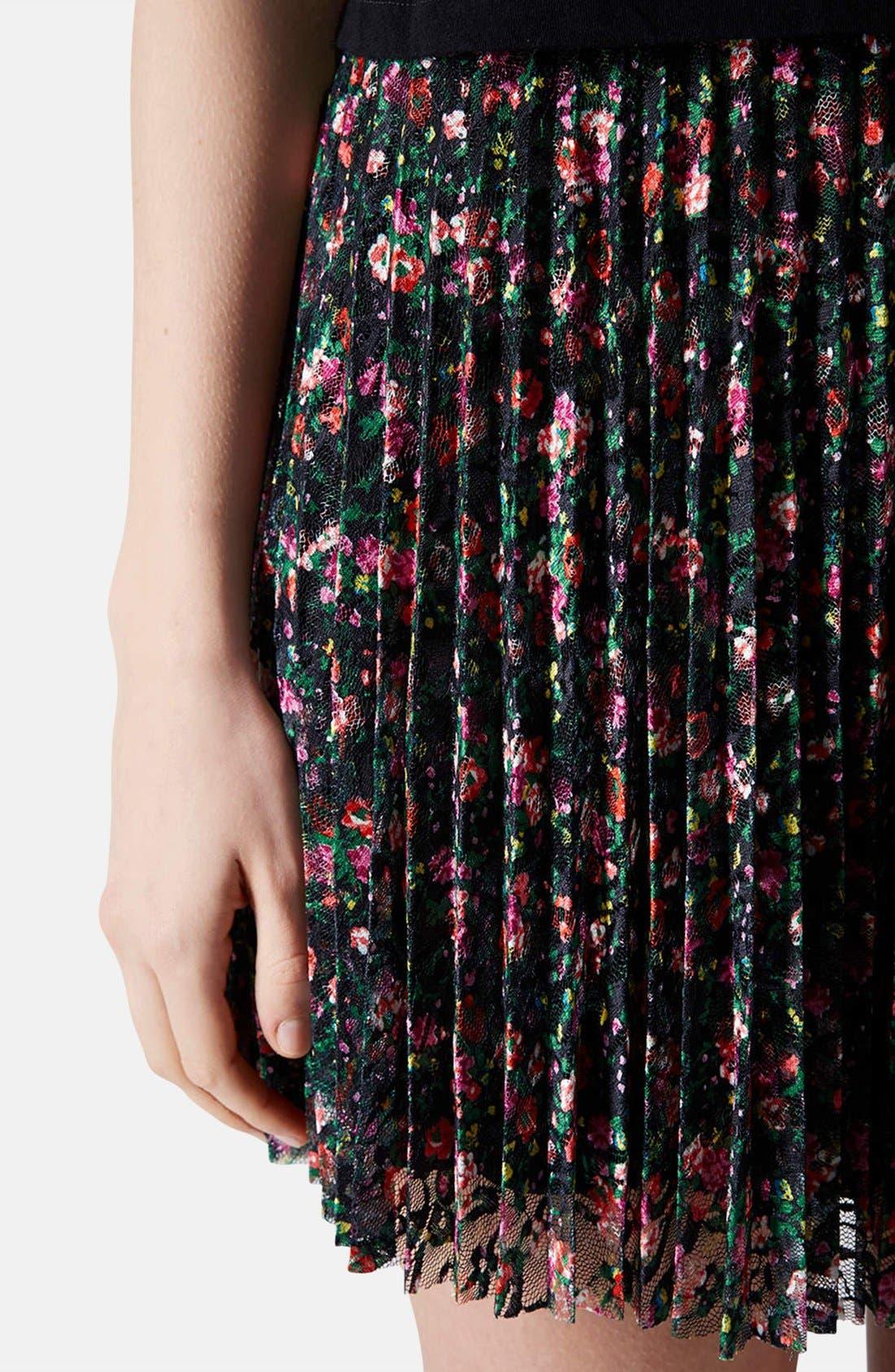 Alternate Image 4  - Topshop Floral Lace Pleat Miniskirt