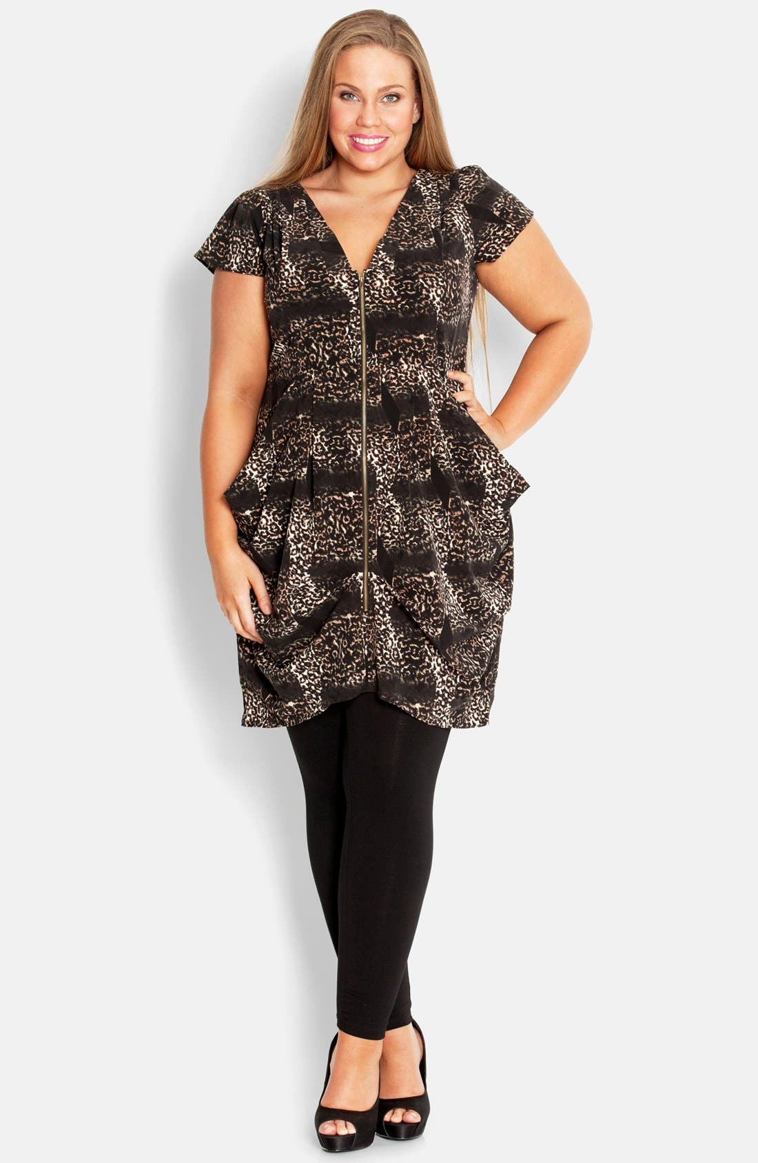Main Image - City Chic Print Front Zip Pleat Tunic (Plus Size)
