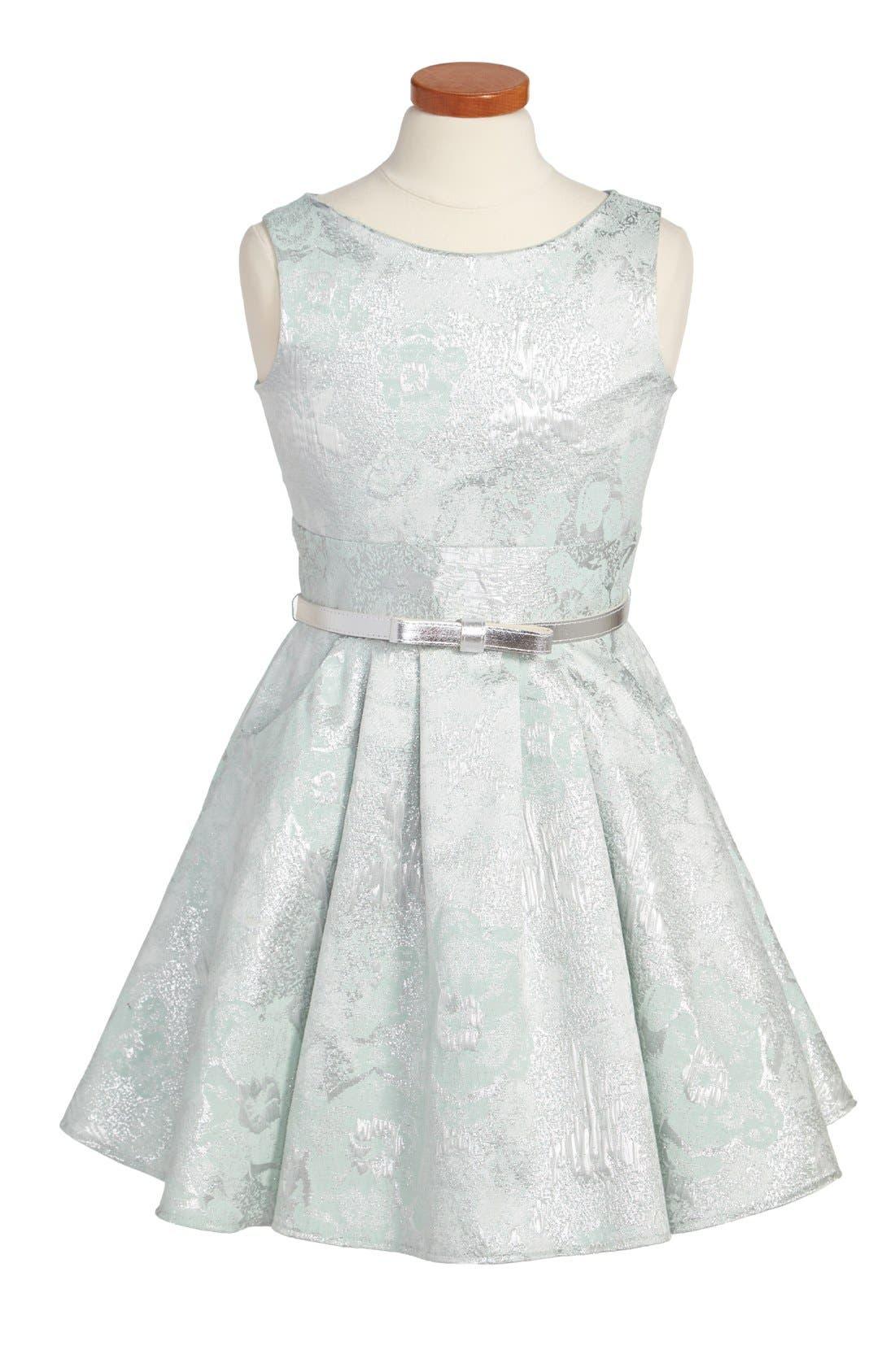 Alternate Image 1 Selected - Zoe Ltd Metallic Brocade Sleeveless Dress (Big Girls)