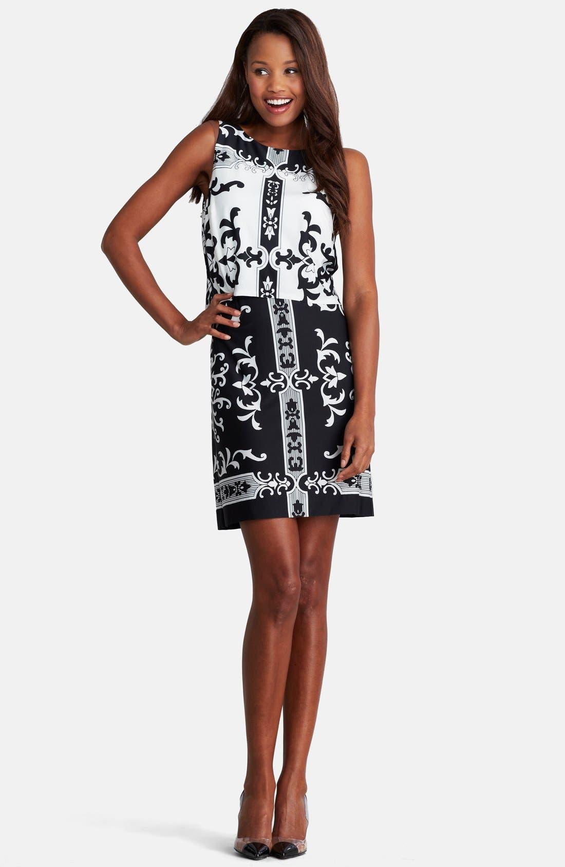 Alternate Image 3  - Donna Morgan Print Jersey Shift Dress (Regular & Petite)