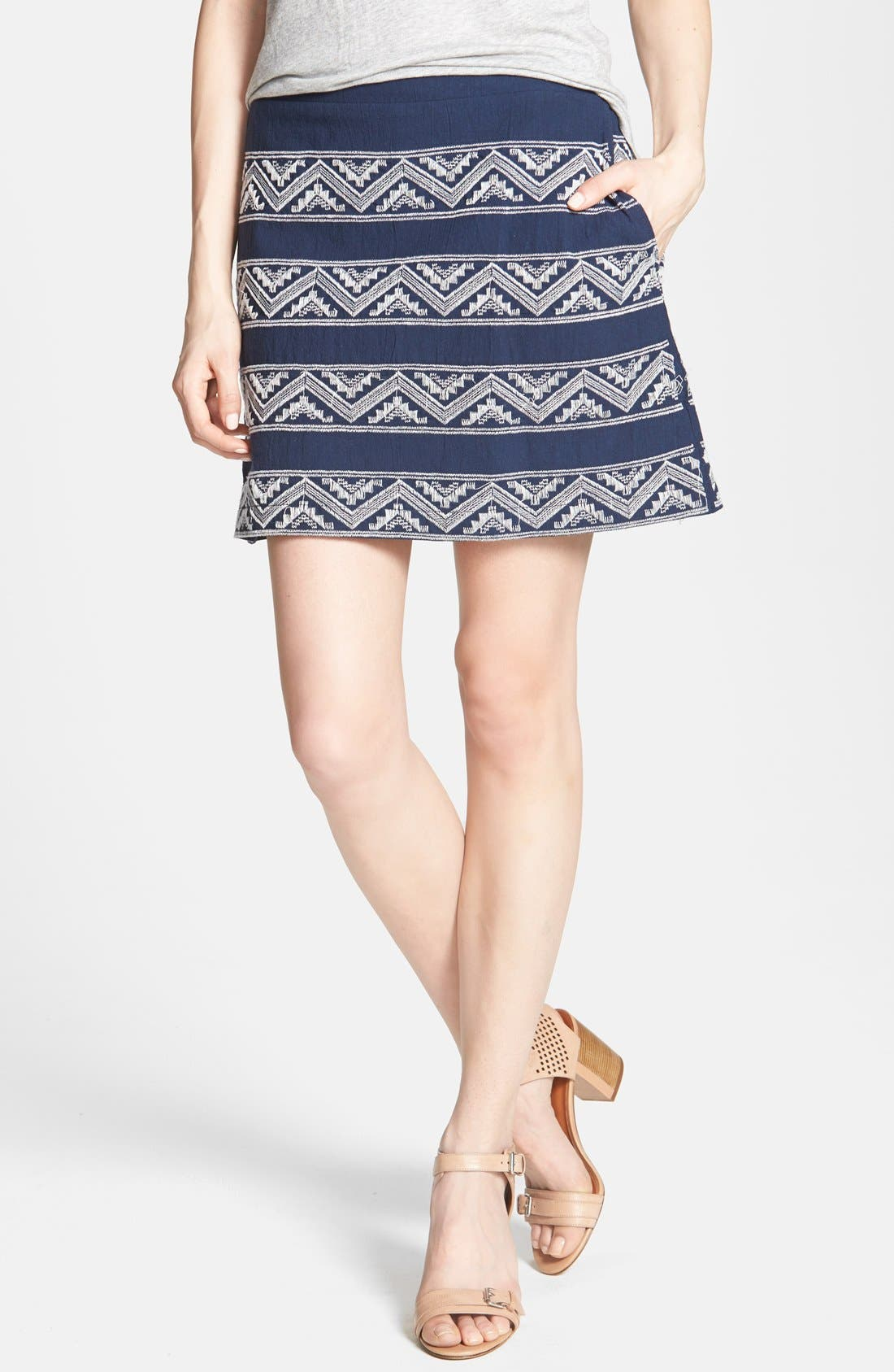Alternate Image 1 Selected - Hinge® Embroidered A-Line Skirt