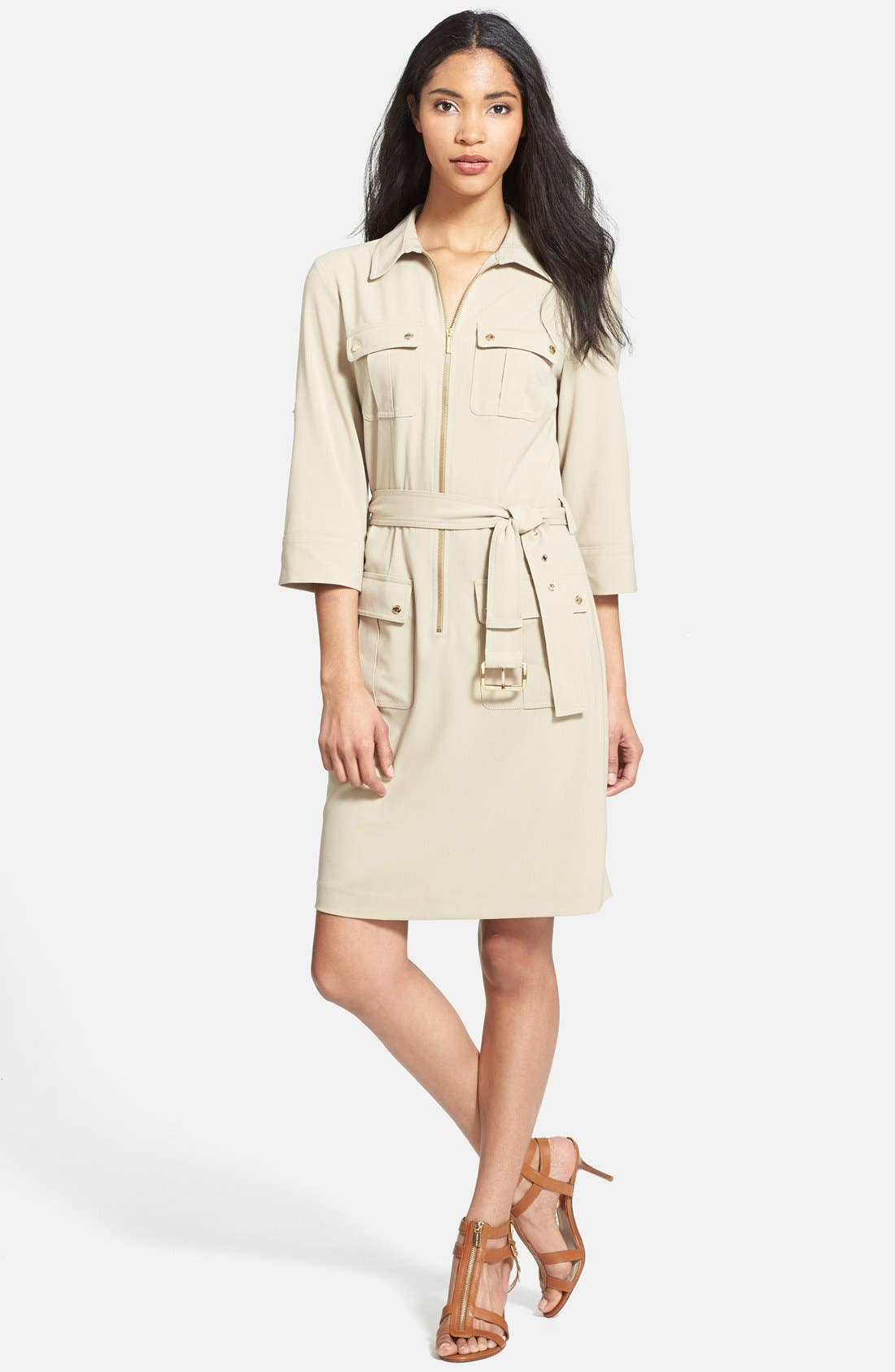 Main Image - MICHAEL Michael Kors Roll Sleeve Belted Shirtdress (Regular & Petite)