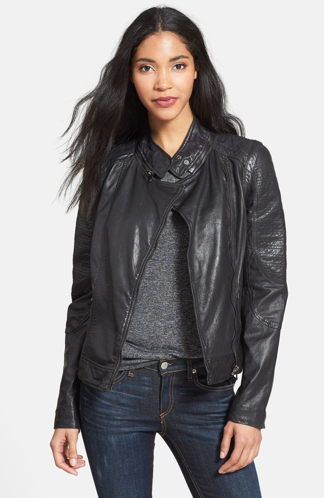 Main Image - Bod & Christensen Zip-Off Sleeve Leather Biker Jacket