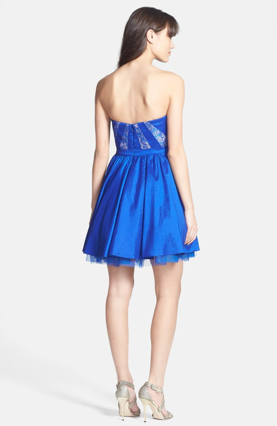 Alternate Image 2  - Aidan Mattox Strapless Lace Trim Taffeta Dress (Online Only)