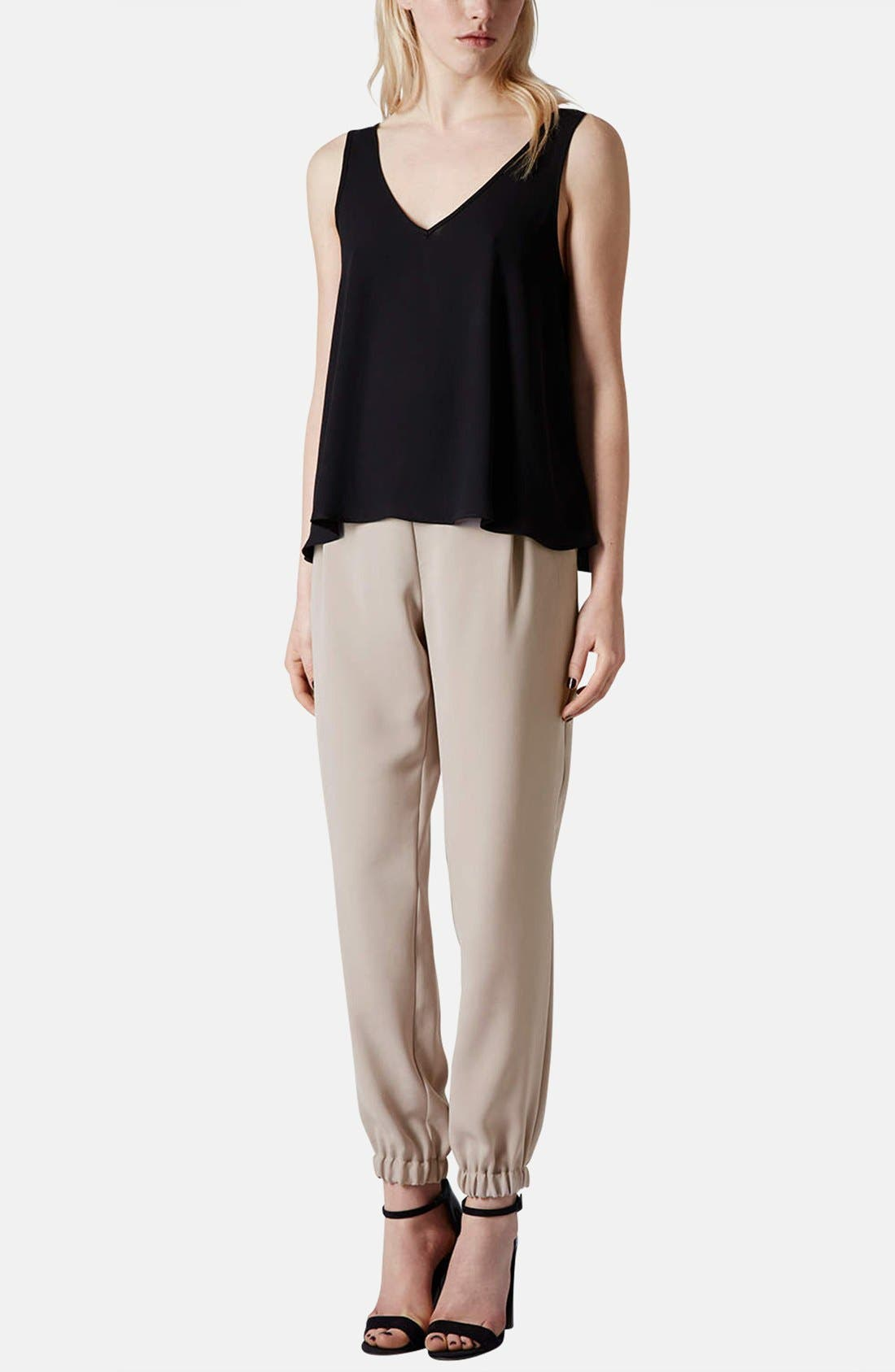 Tapered Crepe Track Pants,                             Alternate thumbnail 5, color,                             Taupe