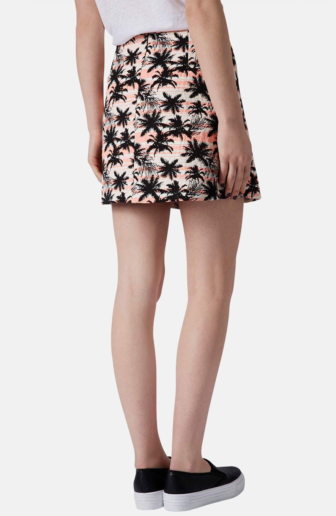 Alternate Image 2  - Topshop Palm Jacquard A-Line Skirt