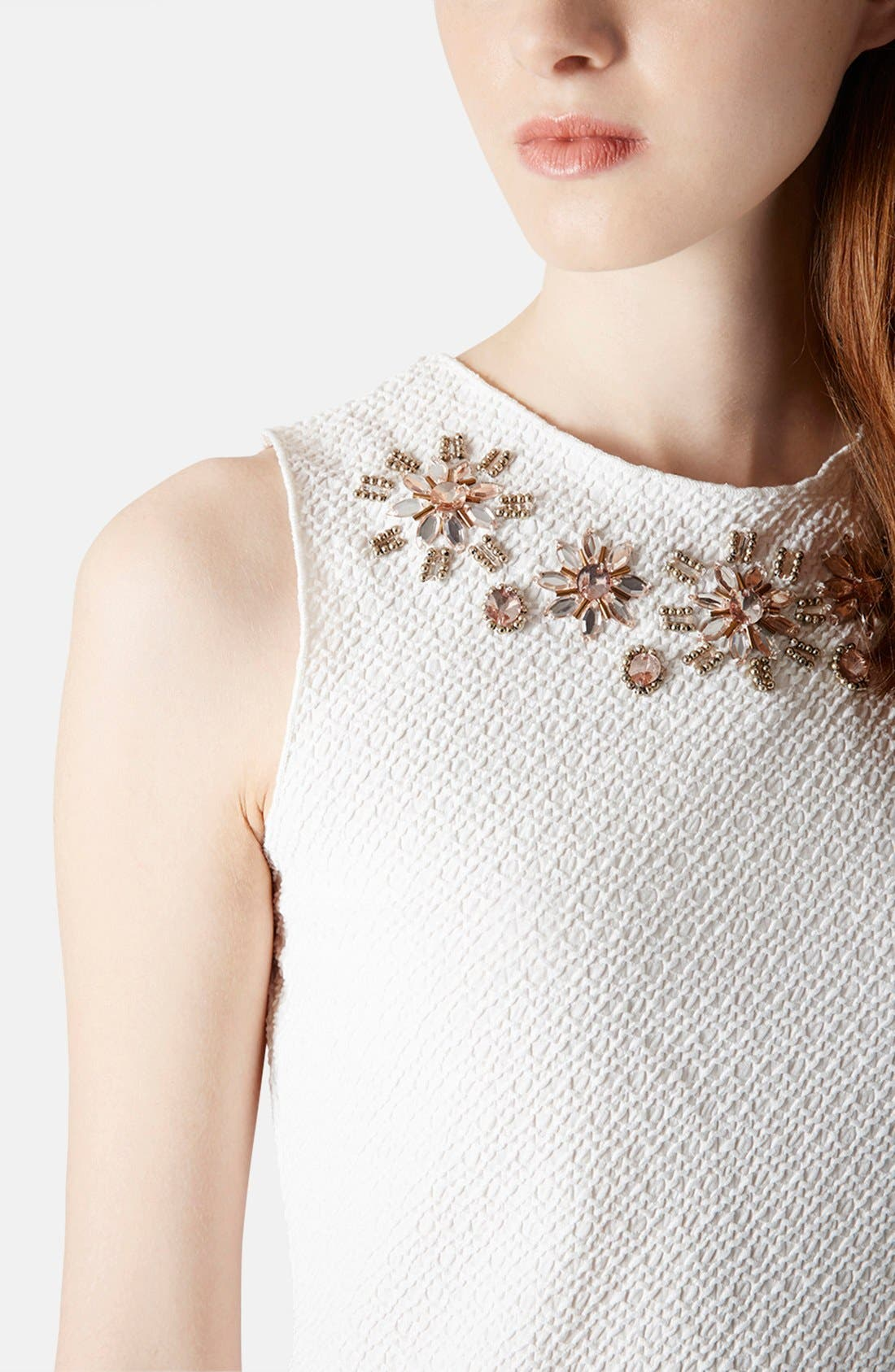 Alternate Image 4  - Topshop Embellished Textured Jersey Shell (Petite)