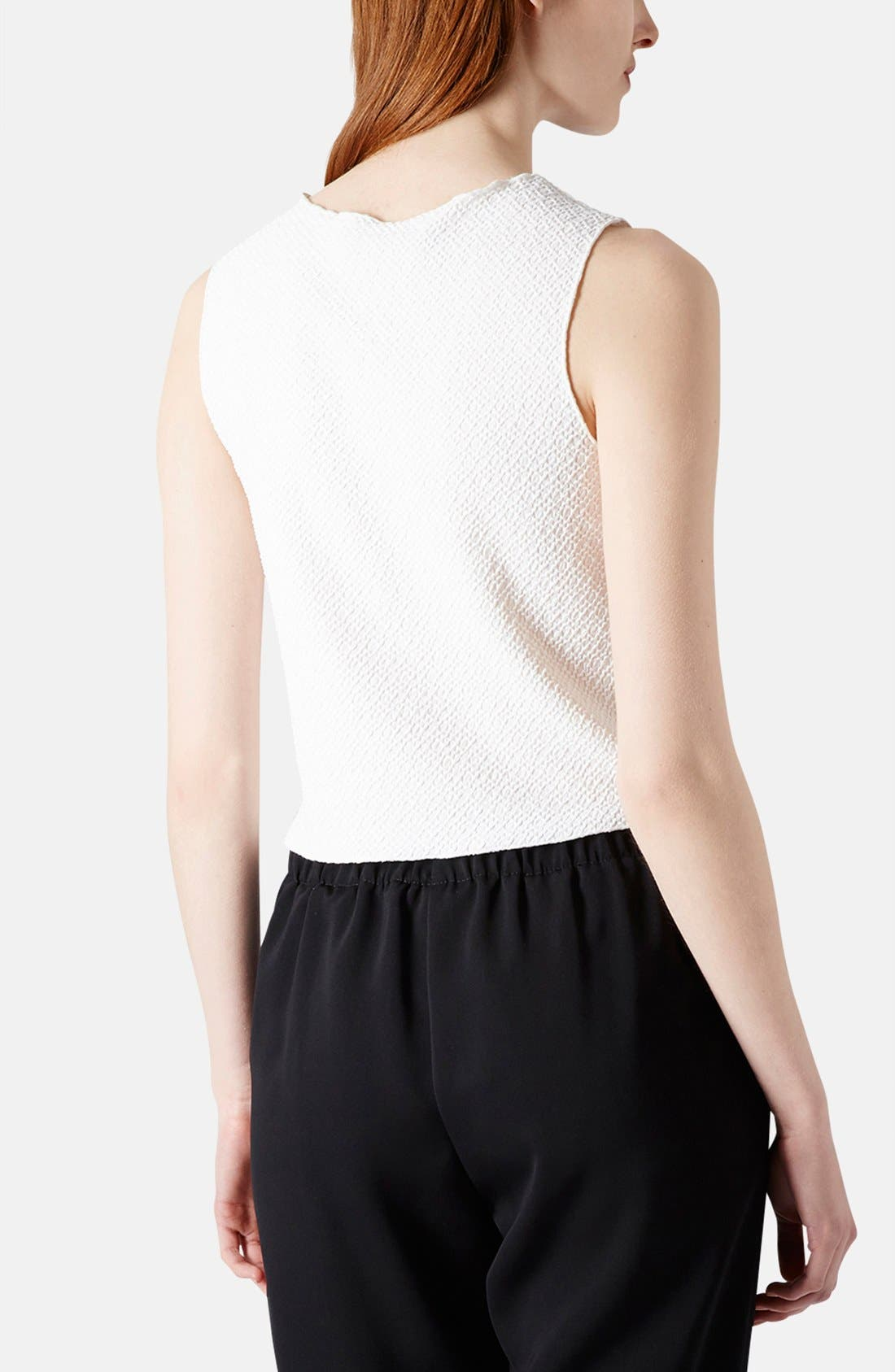 Alternate Image 2  - Topshop Embellished Textured Jersey Shell (Petite)