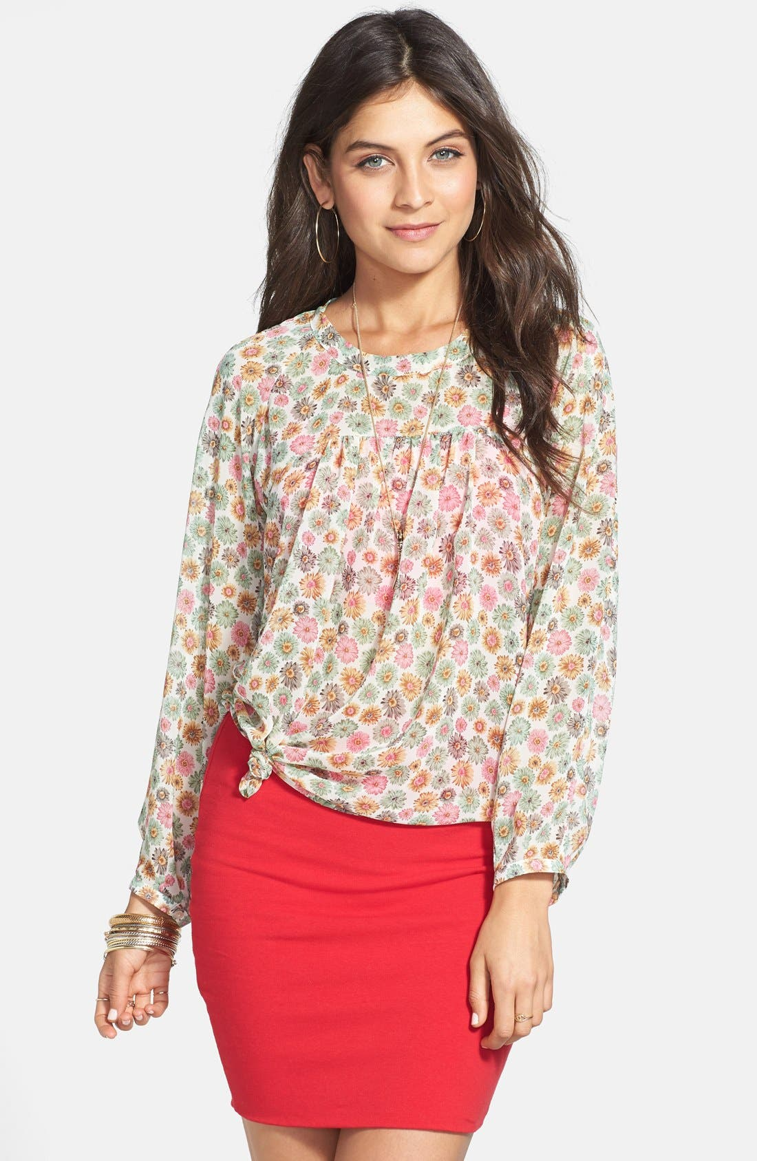 Alternate Image 1 Selected - Elodie Floral Print Gathered Yoke Blouse (Juniors)