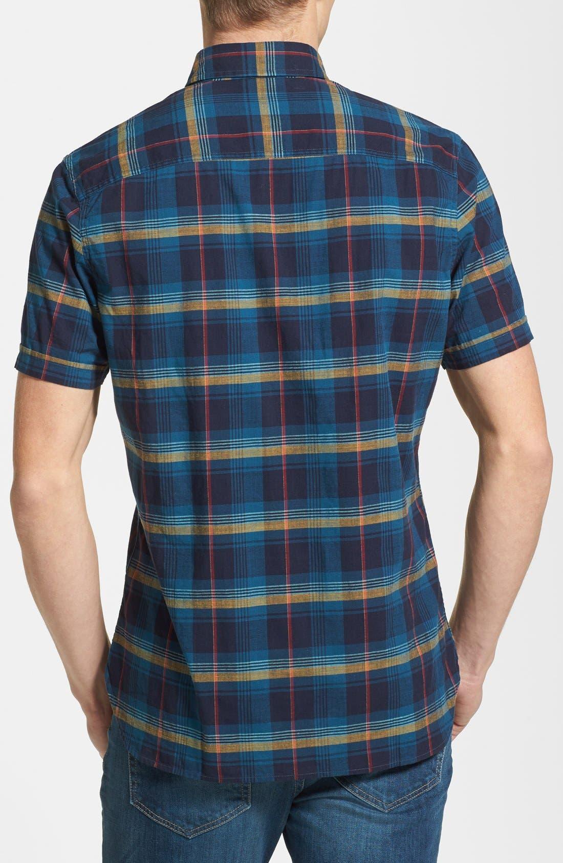 Alternate Image 2  - Wallin & Bros. 'Signature' Trim Fit Short Sleeve Madras Sport Shirt
