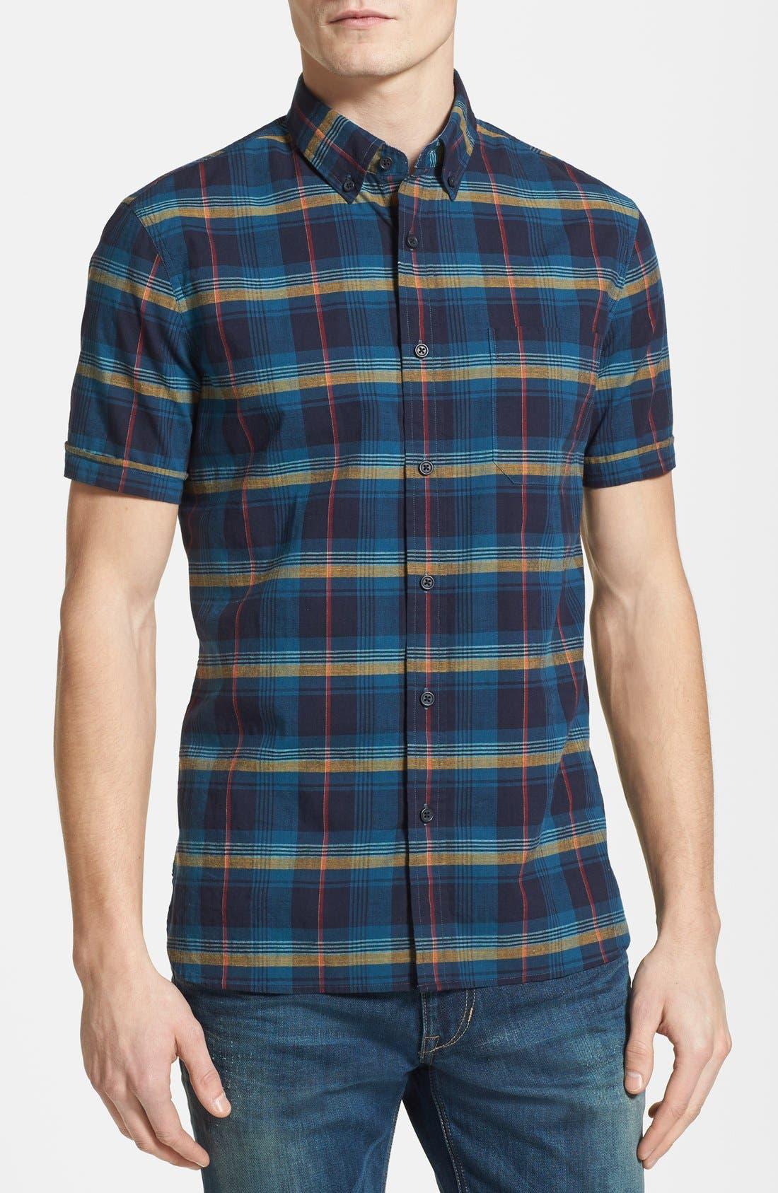 Alternate Image 1 Selected - Wallin & Bros. 'Signature' Trim Fit Short Sleeve Madras Sport Shirt