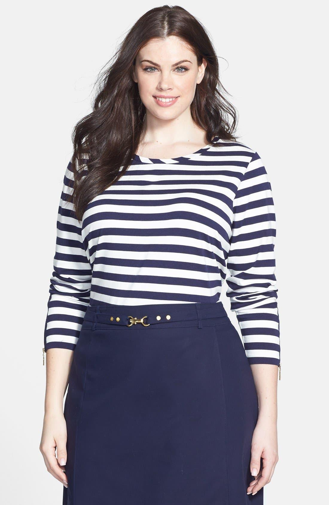Main Image - Anne Klein Zip Detail Stripe Stretch Knit Top (Plus Size)