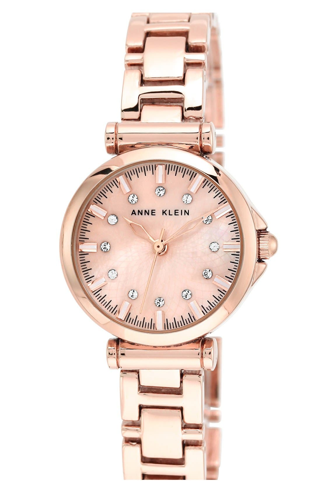 Alternate Image 1 Selected - Anne Klein Crystal Index Round Bracelet Watch, 28mm
