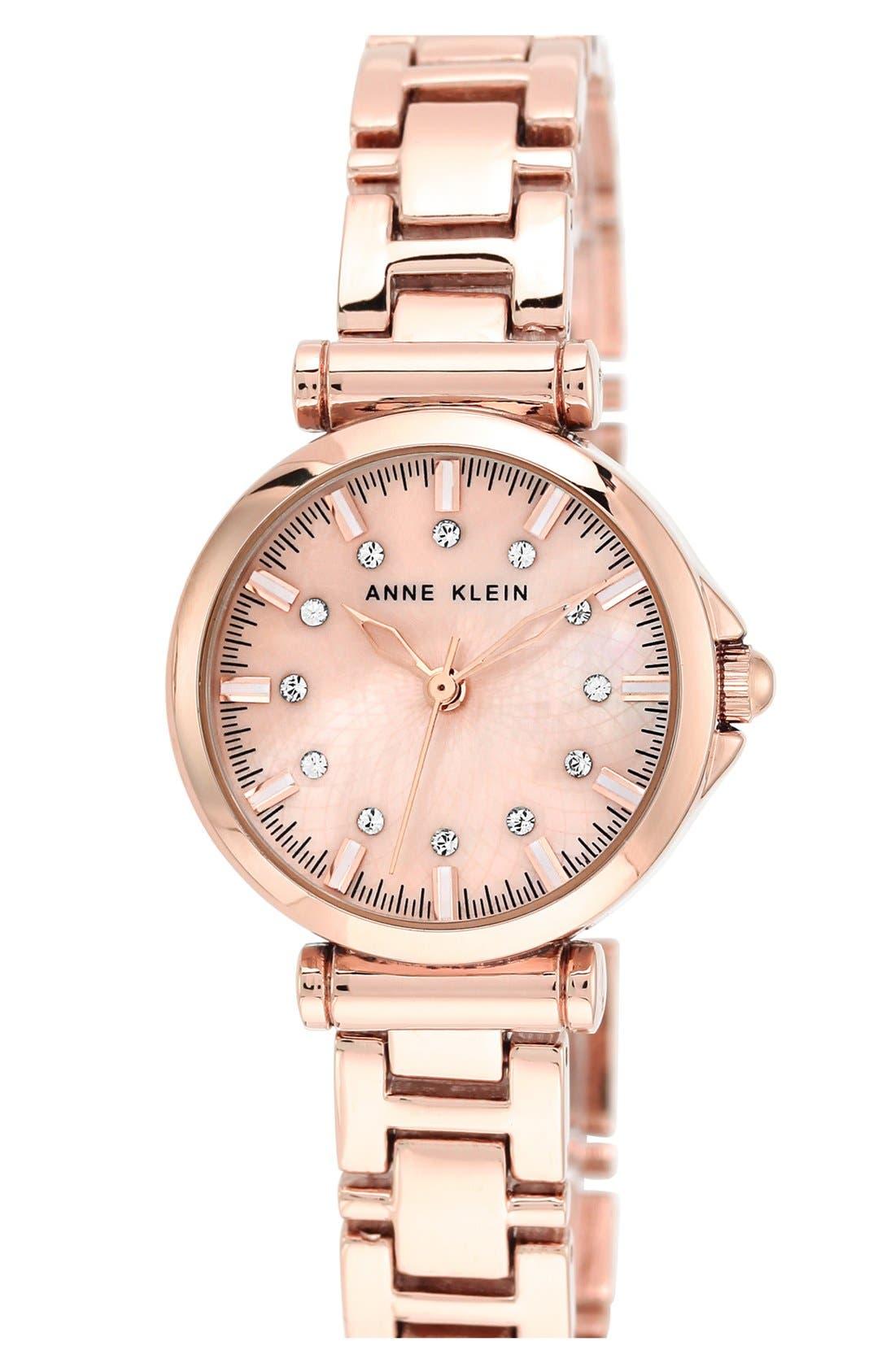Main Image - Anne Klein Crystal Index Round Bracelet Watch, 28mm