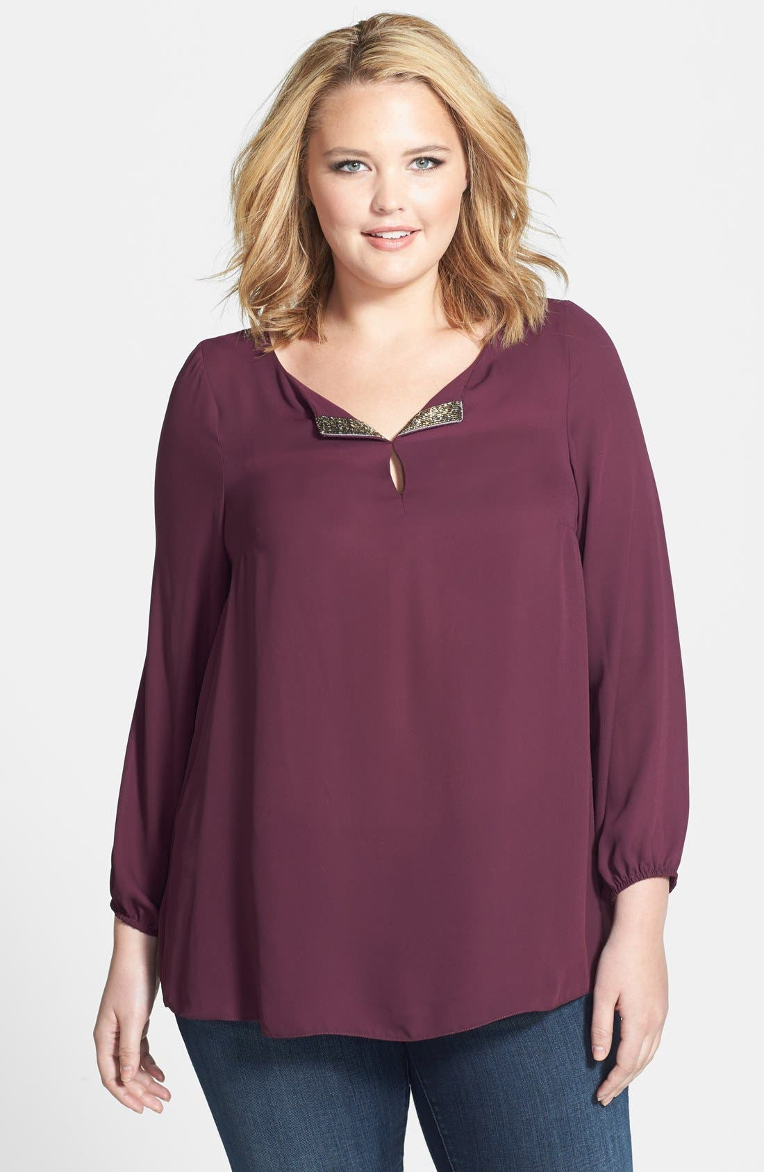 Main Image - Evans Embellished Collar Blouse (Plus Size)