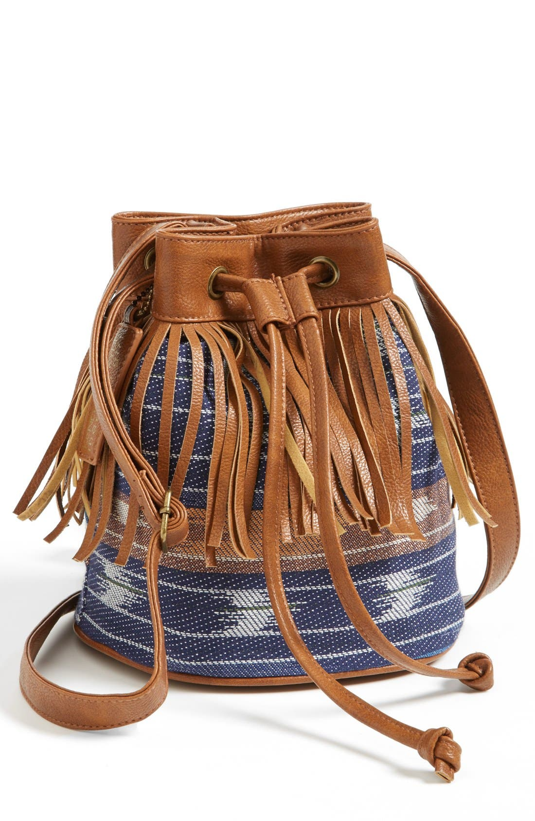 Main Image - KENDALL + KYLIE Madden Girl Fringed Fabric Bucket Bag (Juniors)