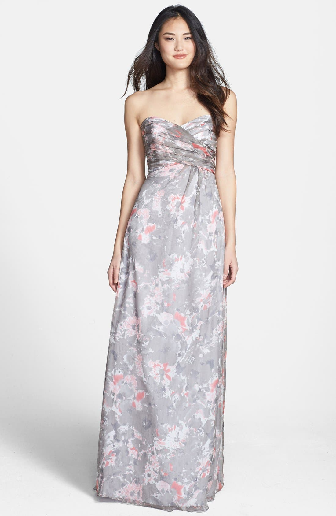 Alternate Image 1 Selected - Amsale 'Amore' Floral Print Silk Chiffon Gown