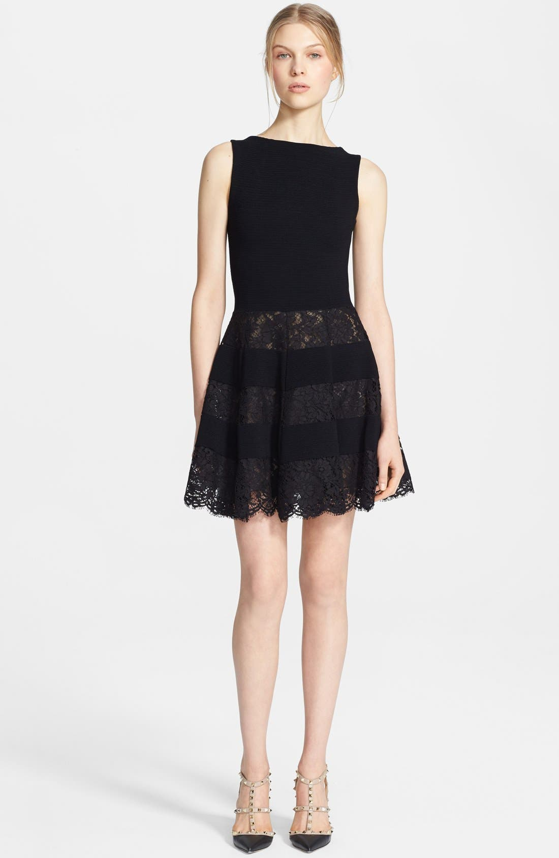Main Image - Valentino Lace Inset Ottoman Dress