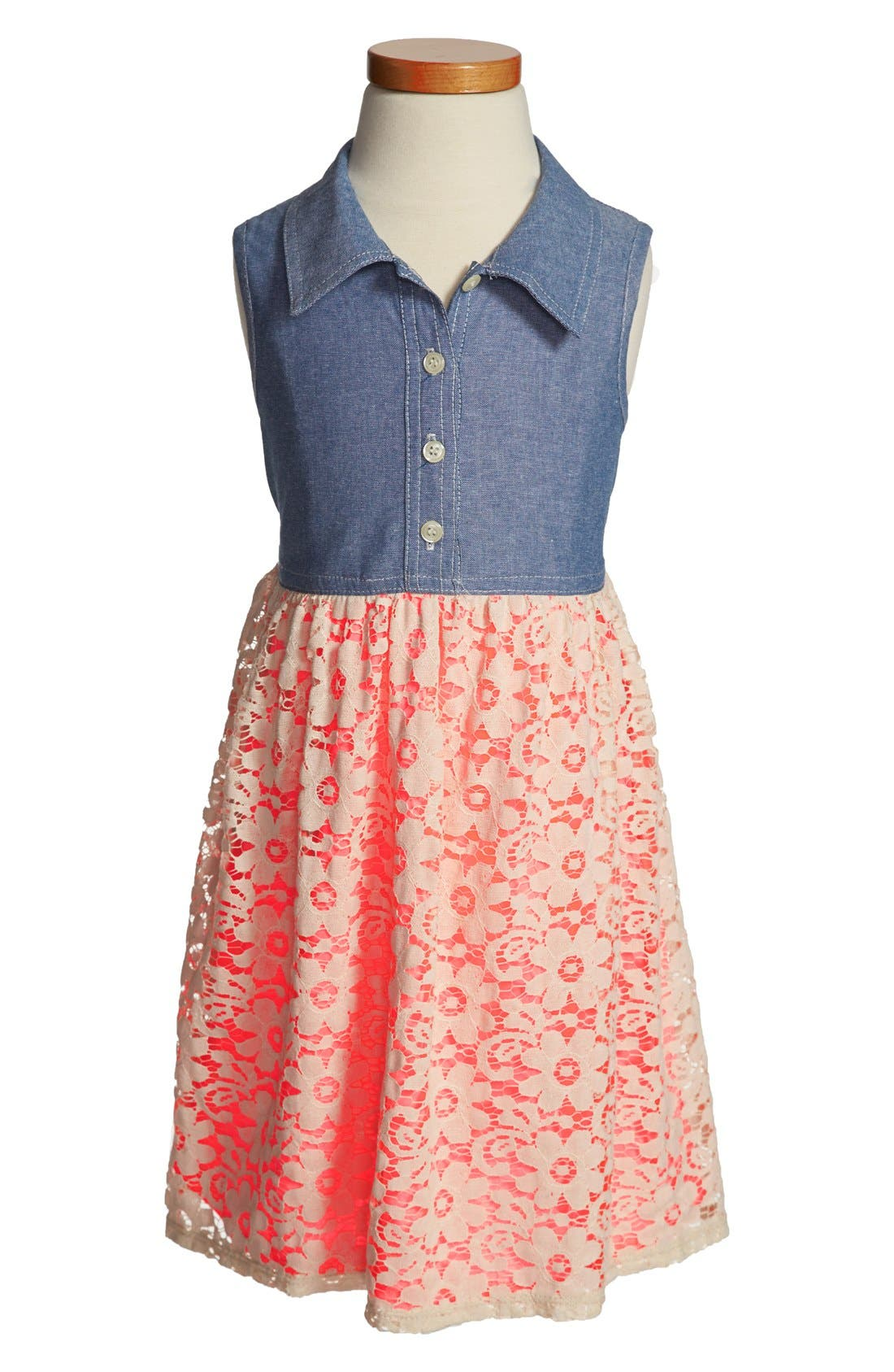 Alternate Image 1 Selected - Zunie Chambray & Lace Dress (Little Girls & Big Girls)