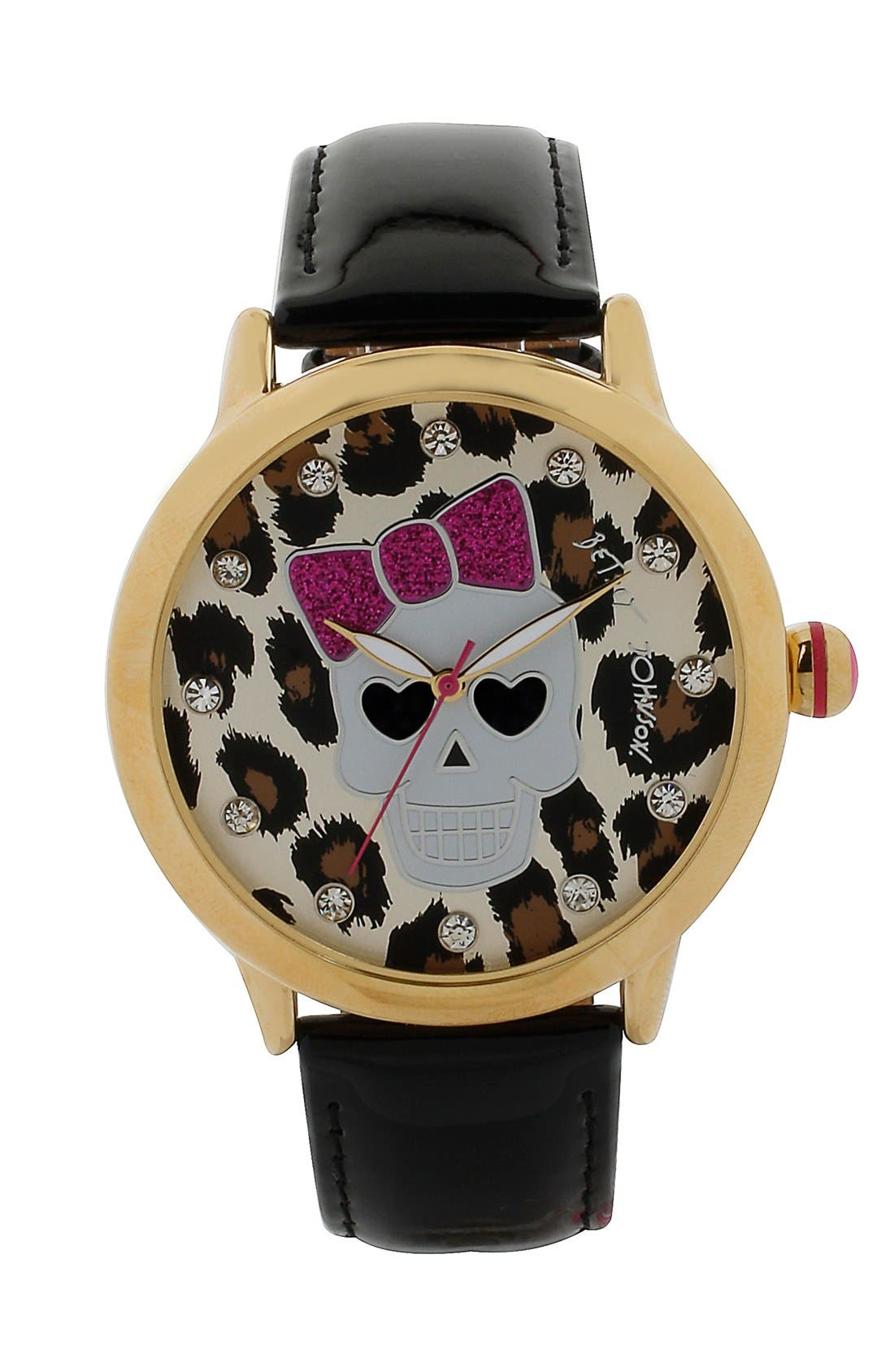 Alternate Image 1 Selected - Betsey Johnson Skull Dial Leather Strap Watch, 41mm