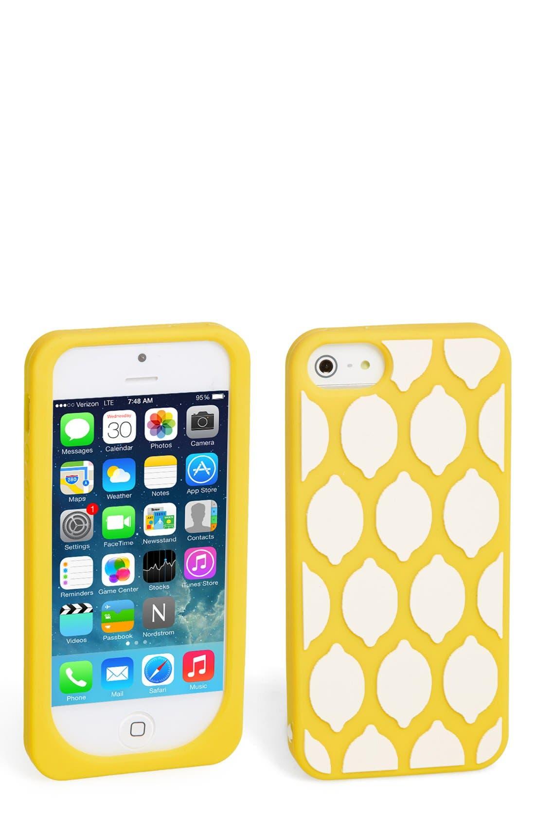 Alternate Image 1 Selected - kate spade new york 'lemon' silicone iPhone 5 case