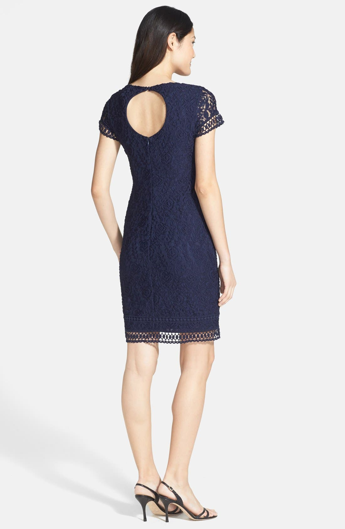 Alternate Image 2  - Laundry by Shelli Segal Lace Sheath Dress (Petite)