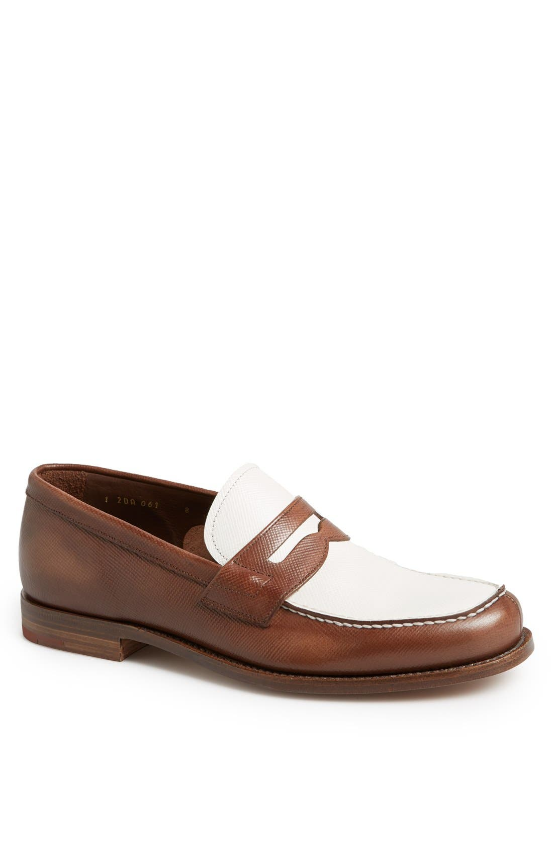 Alternate Image 1 Selected - Prada Saffiano Penny Loafer