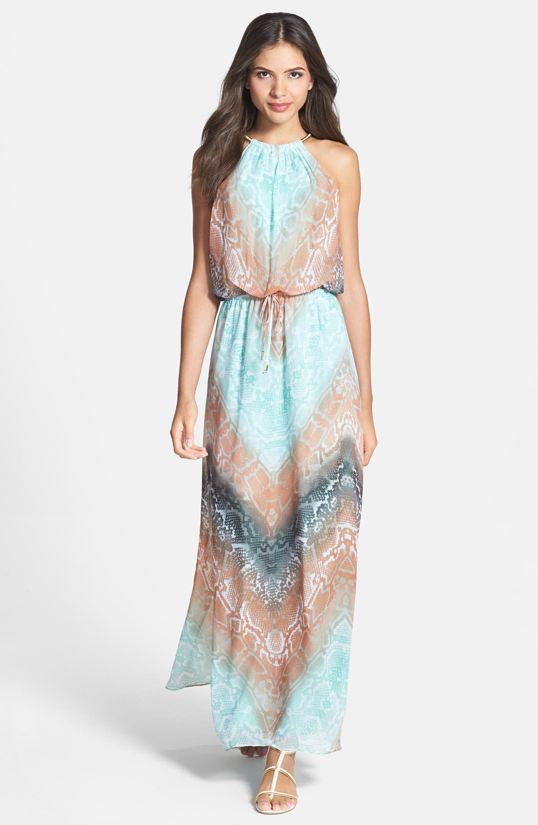 Alternate Image 1 Selected - Vince Camuto Print Chiffon Blouson Maxi Dress