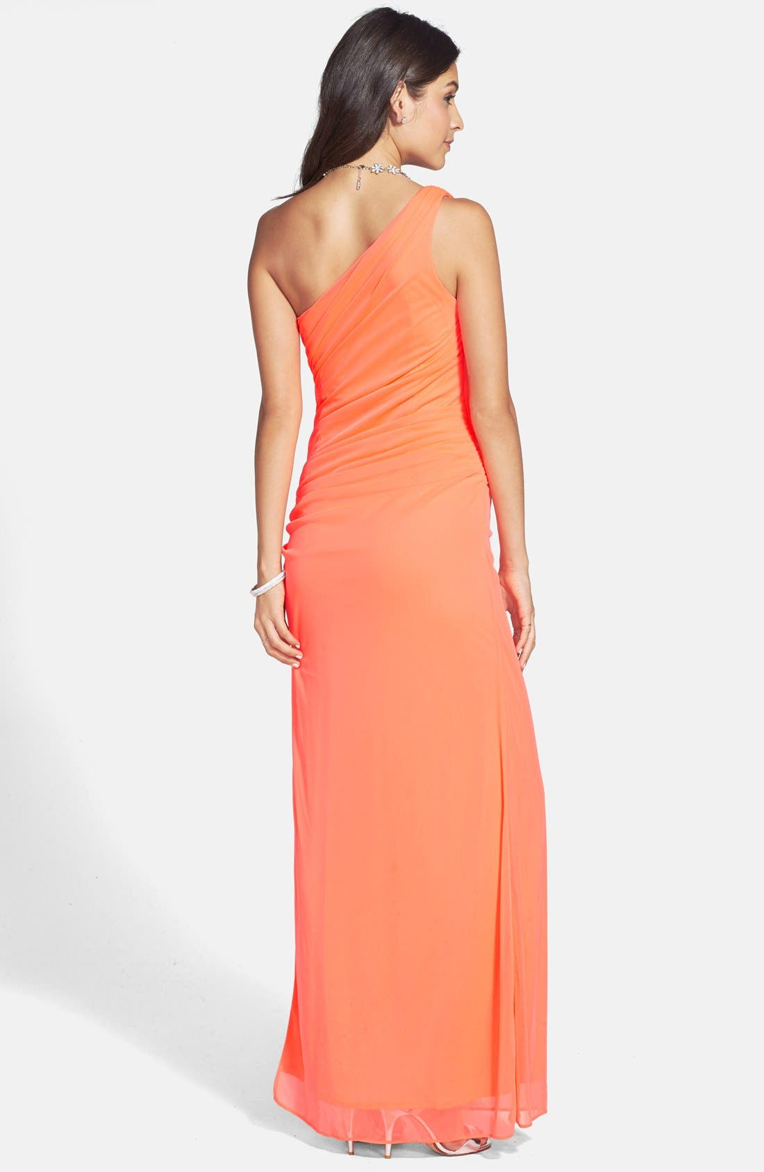 Alternate Image 2  - Hailey Logan Neon One-Shoulder Mesh Gown (Juniors) (Online Only)