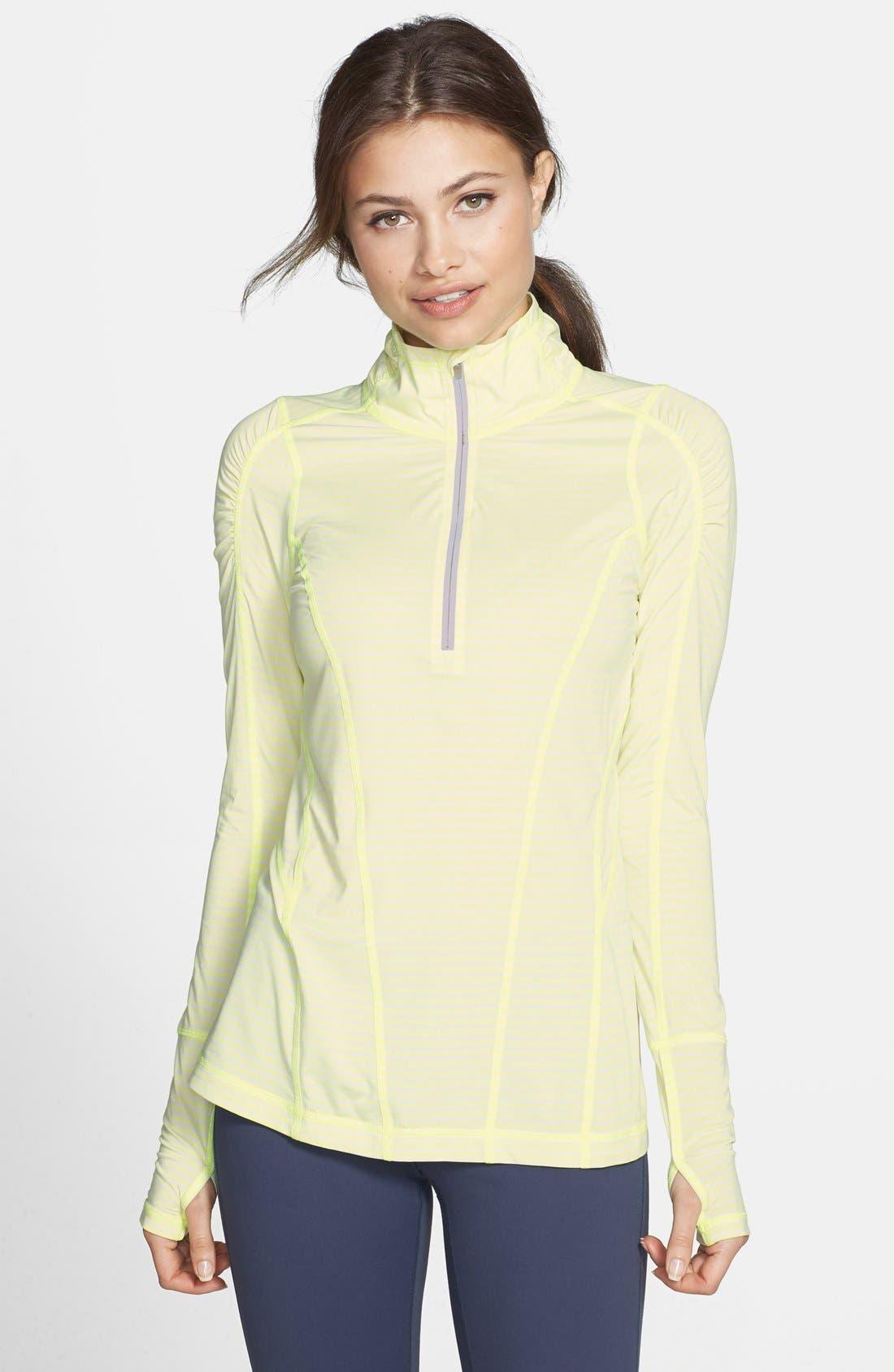 Main Image - Zella 'Run' Stripe Half Zip Pullover
