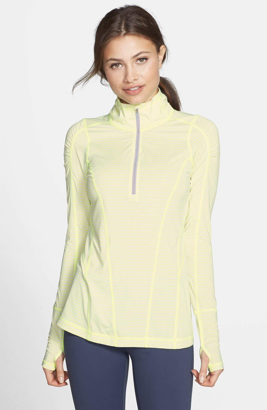 'Run' Stripe Half Zip Pullover,                         Main,                         color, Lime Zest