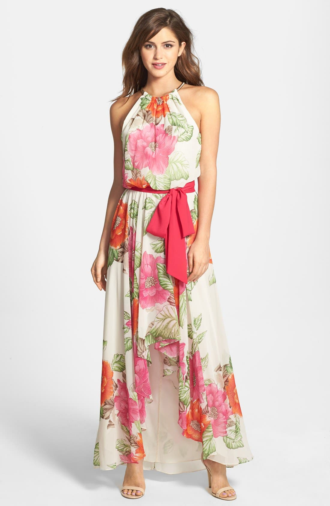 Alternate Image 1 Selected - Eliza J Cutaway Floral Print Maxi Dress