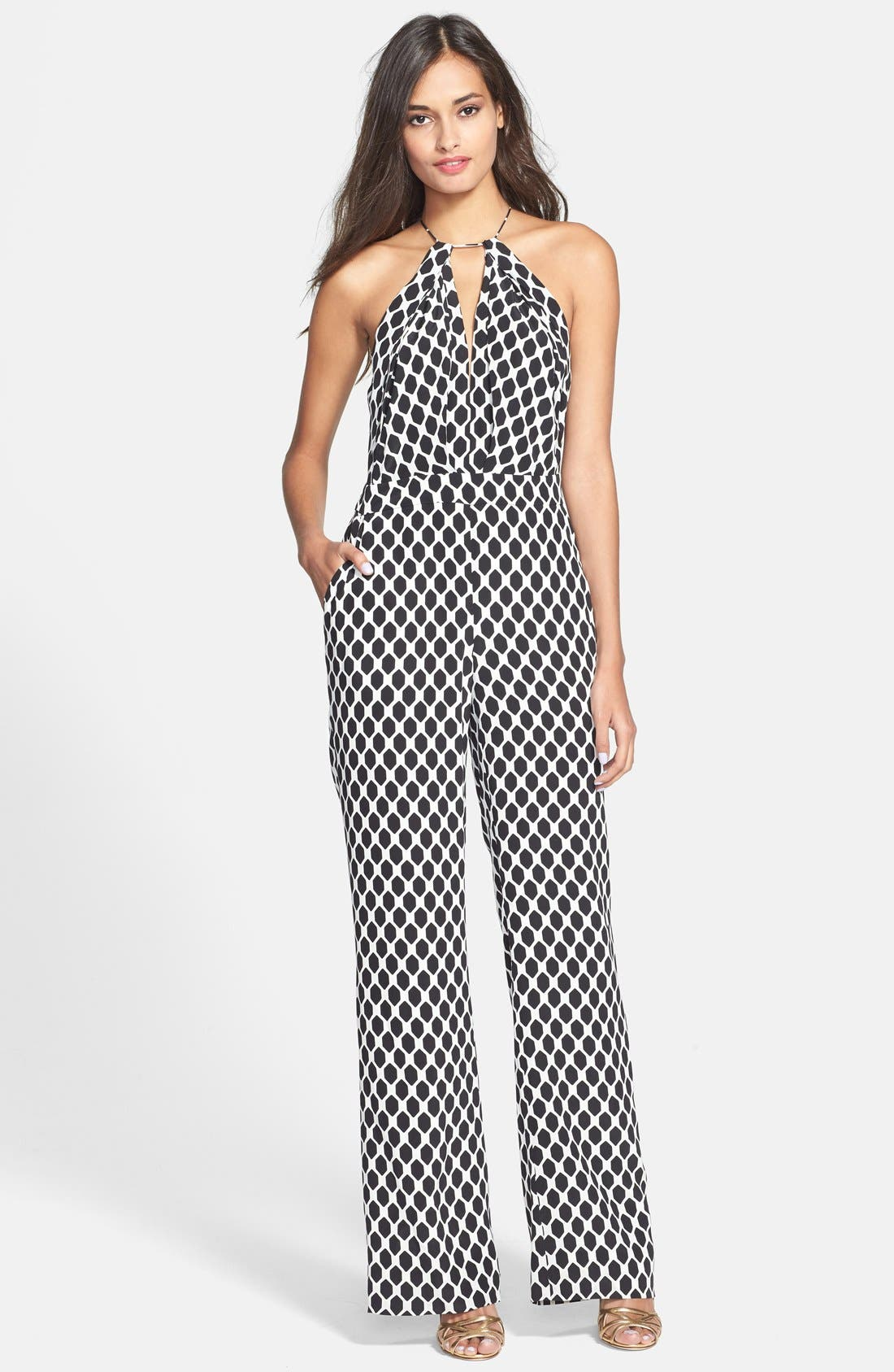Alternate Image 1 Selected - Diane von Furstenberg 'Ireland' Wide Leg Silk Jumpsuit