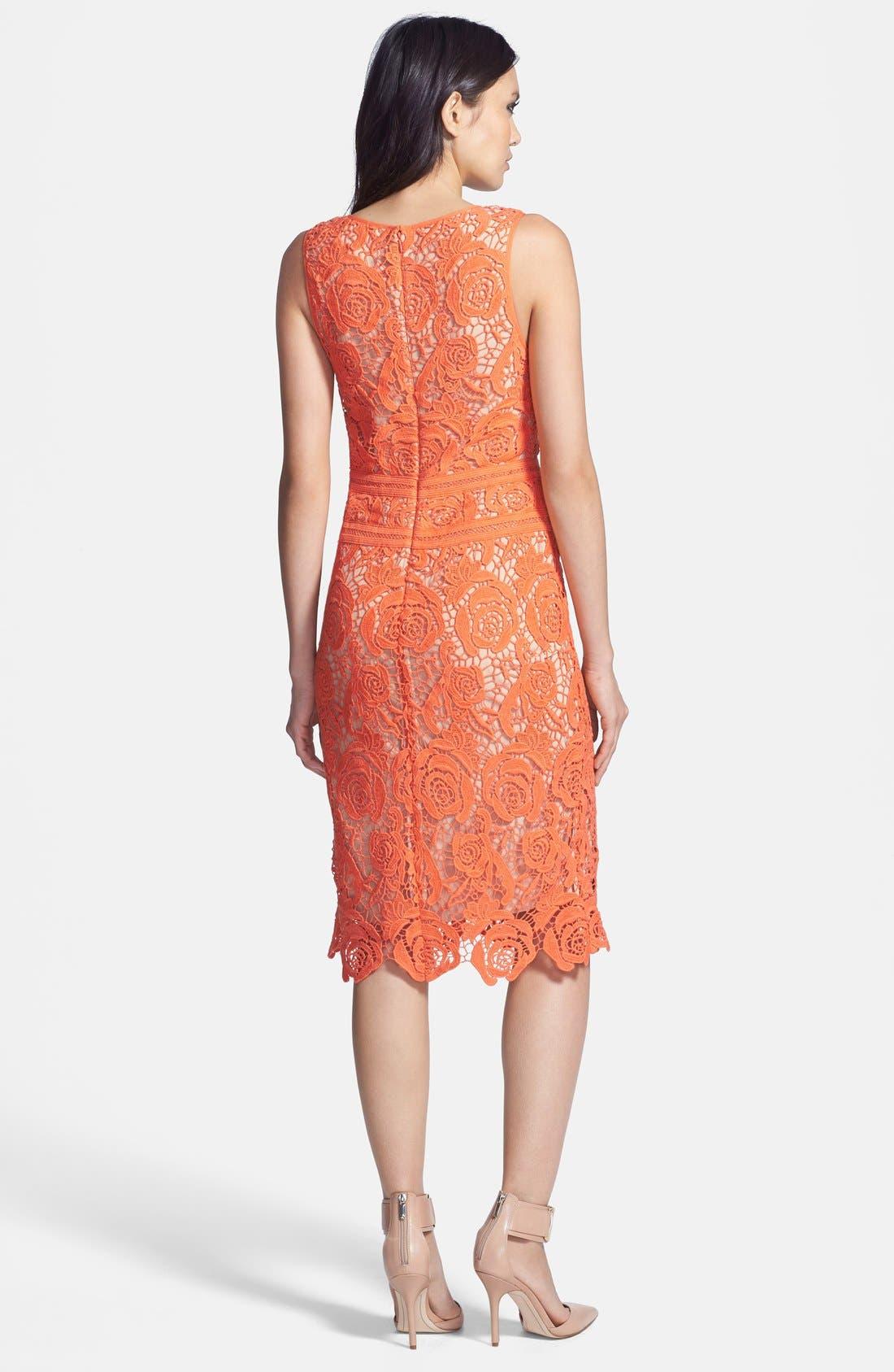 Alternate Image 2  - Nicole Miller Neon Venetian Lace Sheath Dress