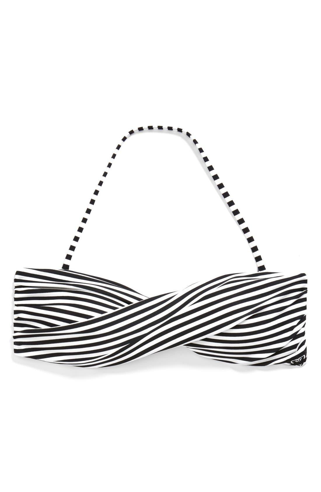 Alternate Image 6  - Roxy 'Sunset Stripes' Twist Stripe Bandeau Bikini Top