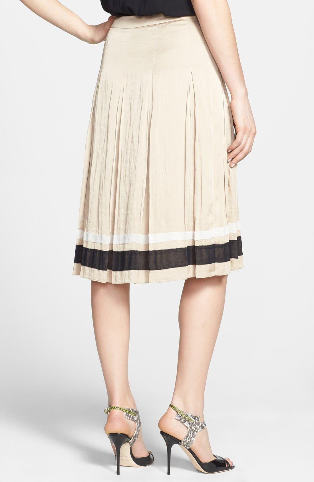 Alternate Image 2  - Chelsea28 Ribbon Trim Pleated Skirt