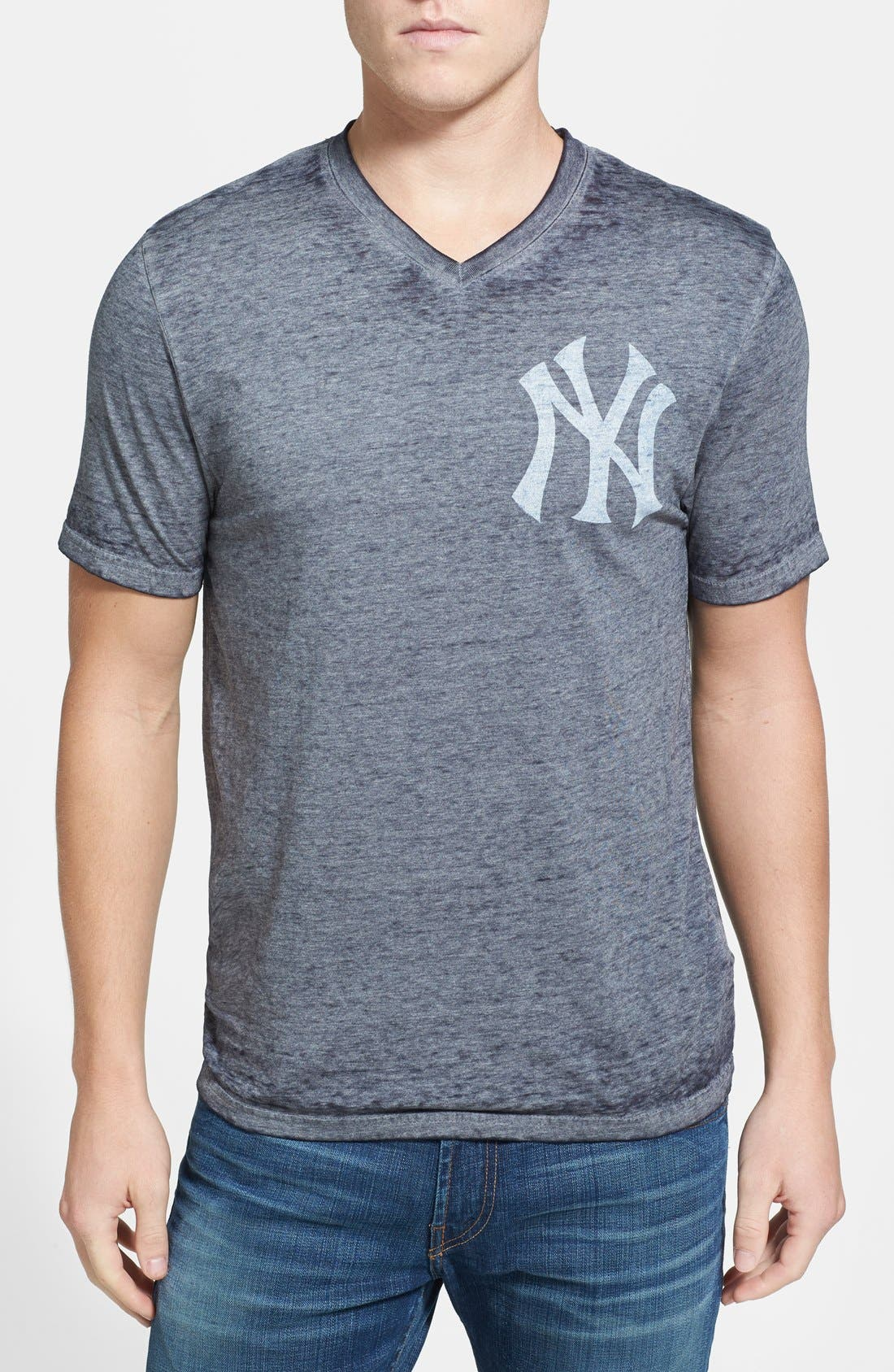 Alternate Image 1 Selected - Red Jacket 'New York Yankees - Burnout' V-Neck T-Shirt