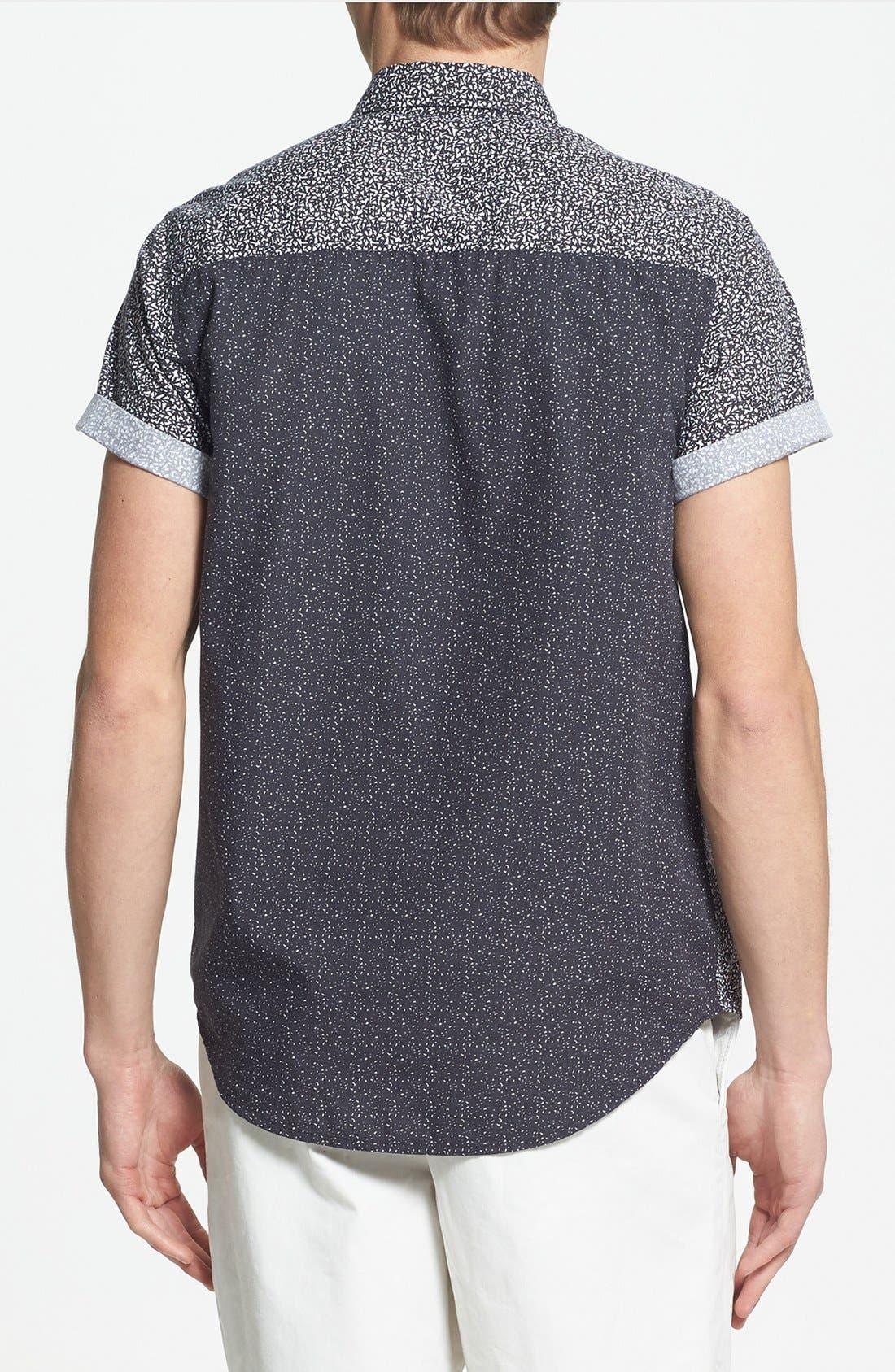 Alternate Image 2  - Topman Classic Fit Short Sleeve Mixed Panel Shirt