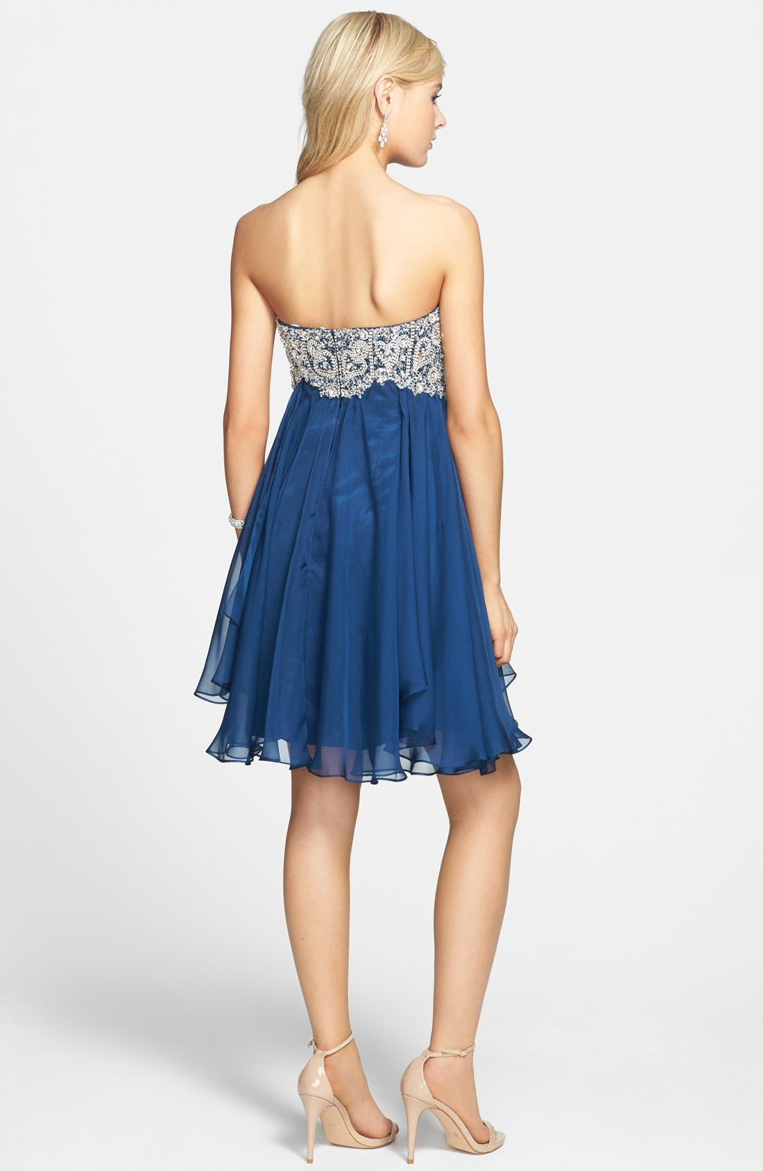 Alternate Image 2  - Sherri Hill Embellished Chiffon Fit & Flare Dress