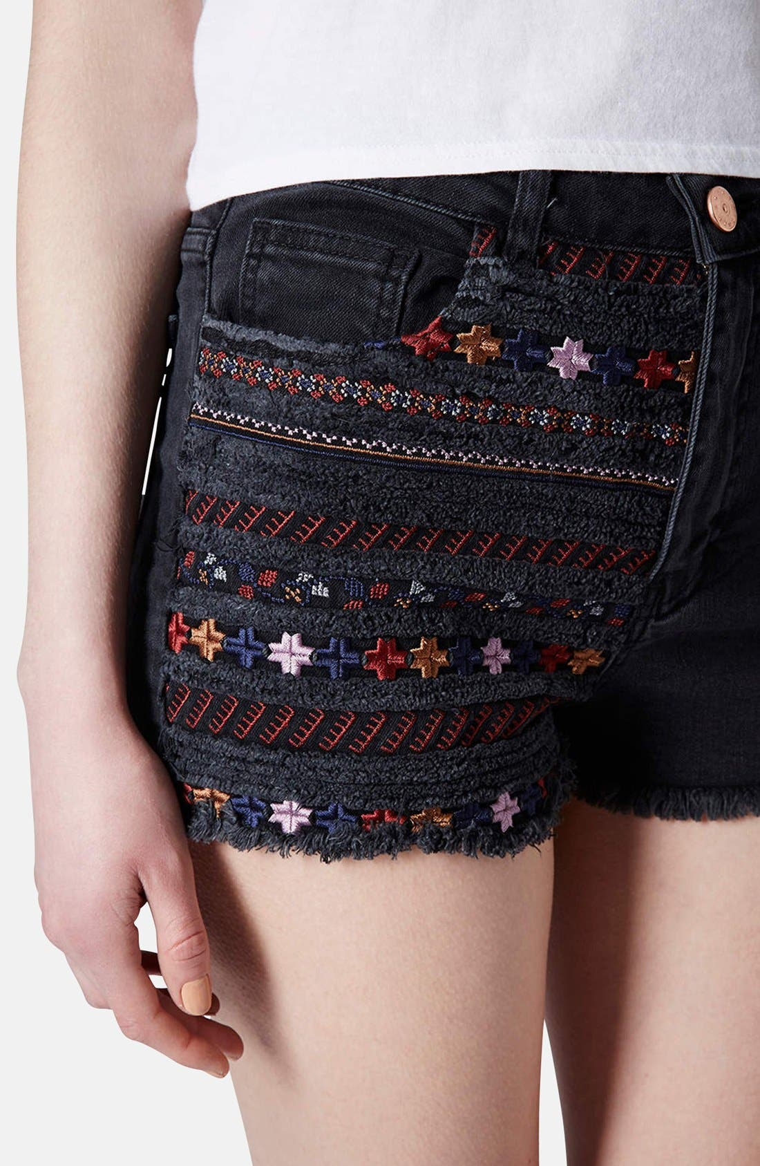 Alternate Image 4  - Topshop Moto Embroidered Denim Cutoff Shorts