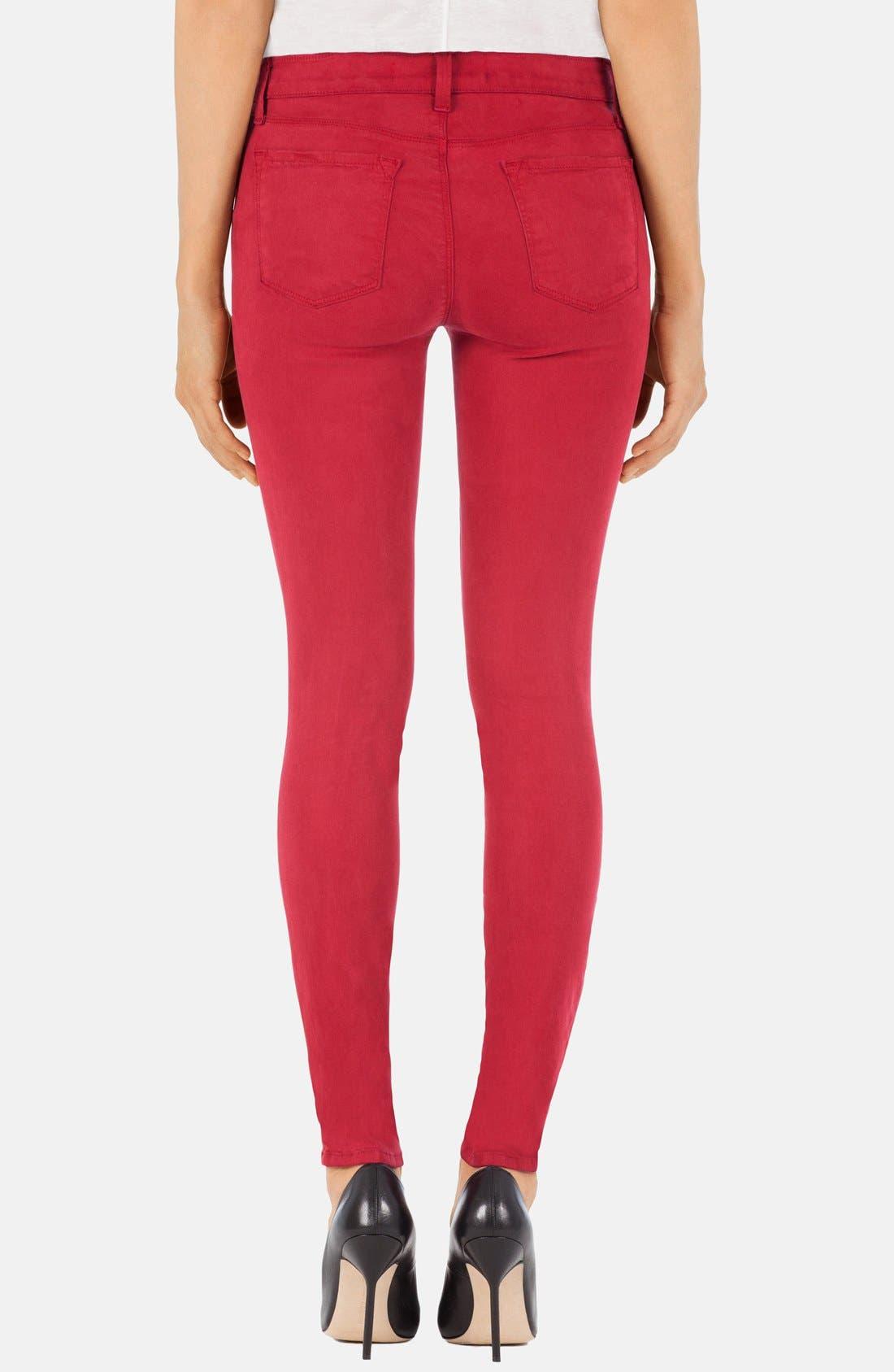 Alternate Image 2  - J Brand '485' Mid Rise Super Skinny Jeans (Carnelian)