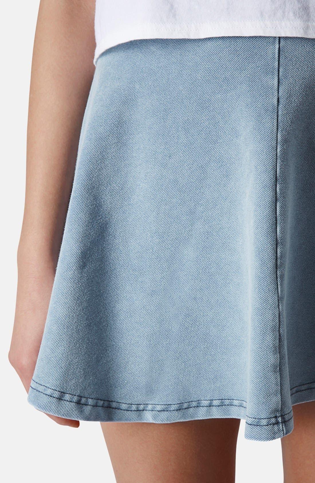 Alternate Image 4  - Topshop 'Andie' Denim Skater Skirt (Petite)