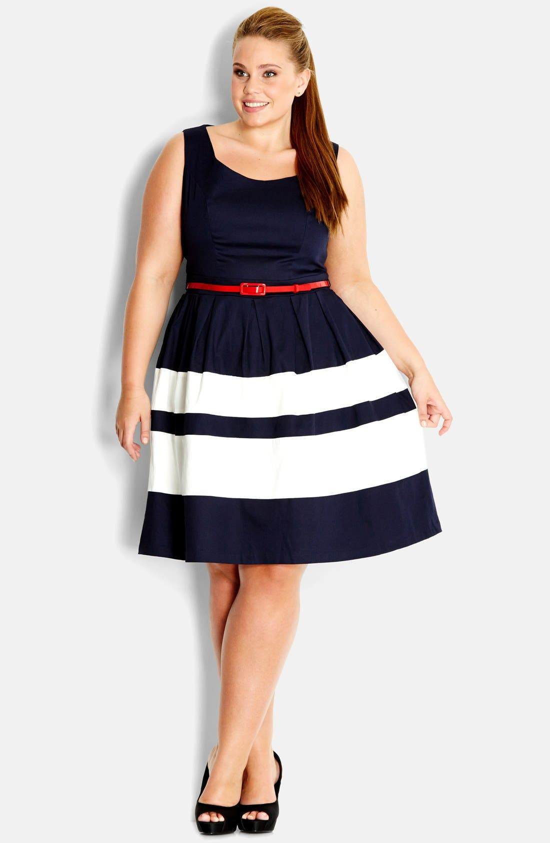 Alternate Image 1 Selected - City Chic 'Landlover' Belted Fit & Flare Dress (Plus Size)