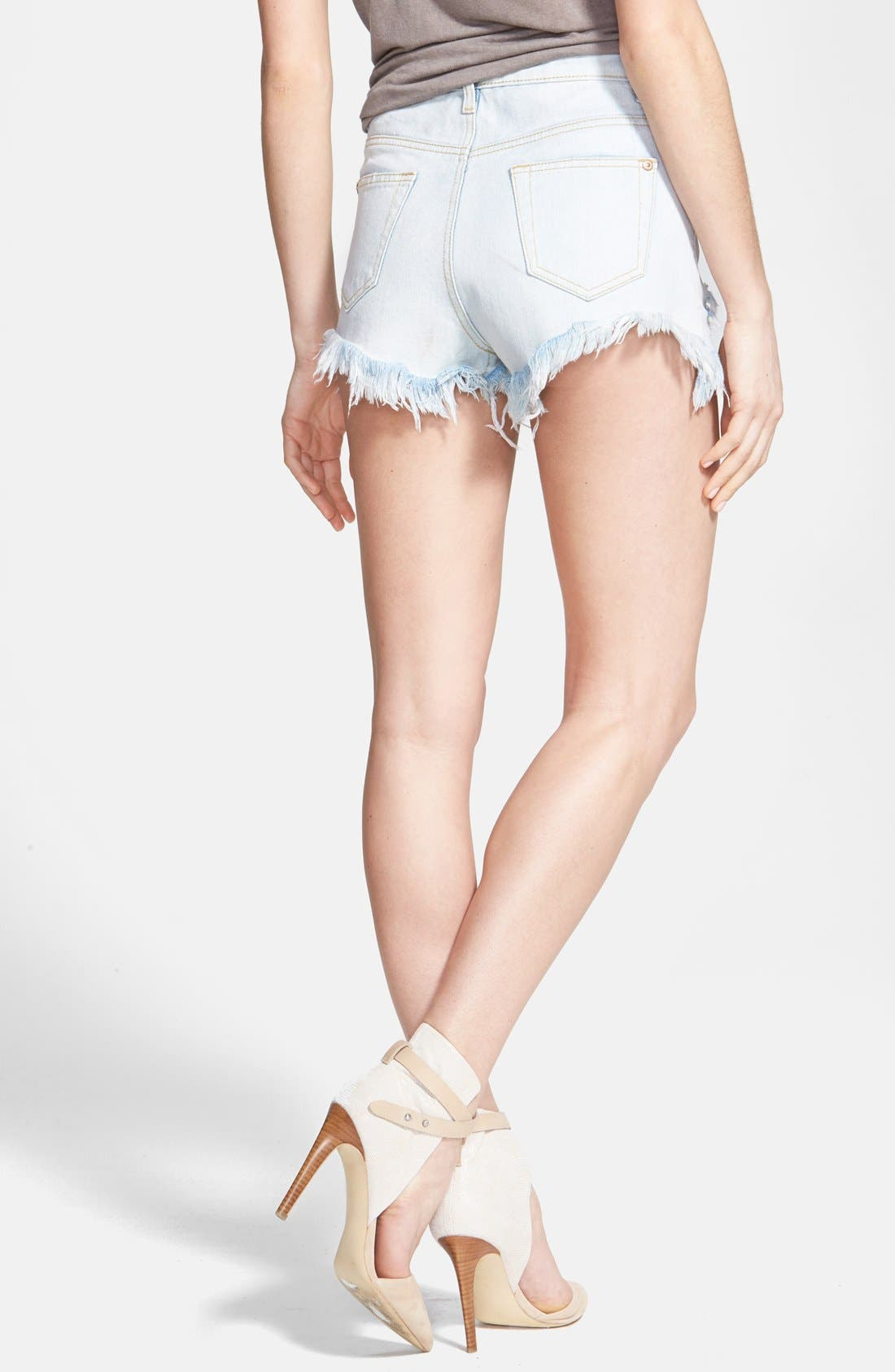 Alternate Image 2  - Glamorous High Rise Distressed Denim Cutoff Shorts