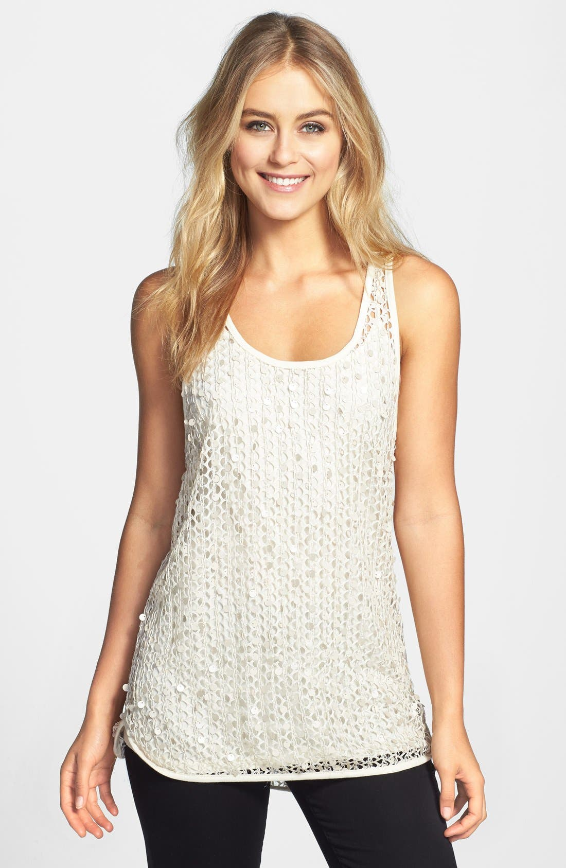 Alternate Image 1 Selected - Vince Camuto Paillette Mesh Tank (Regular & Petite)
