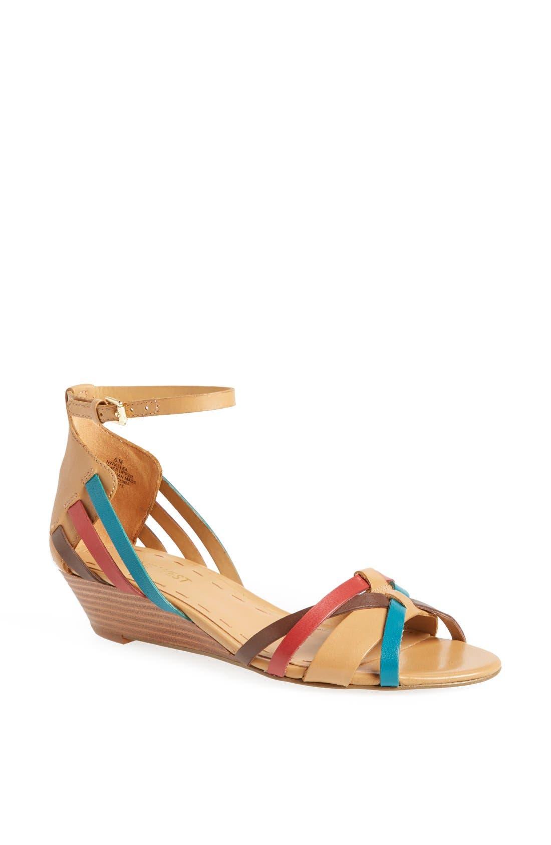 Alternate Image 1 Selected - Nine West 'Villea' Ankle Strap Wedge Sandal
