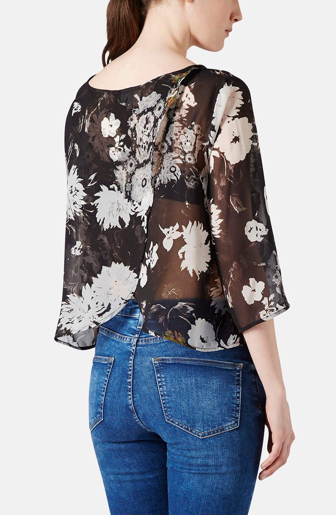 Alternate Image 2  - Topshop Floral Drape Back Blouse