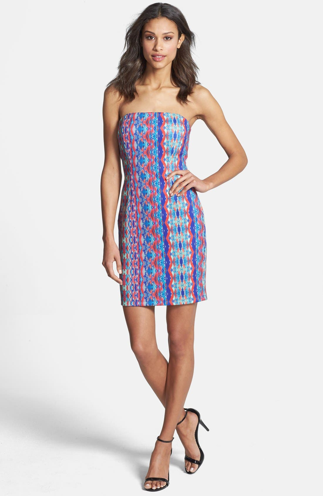 'Athea' Strapless Print Dress,                             Alternate thumbnail 3, color,                             Pink/ Blue