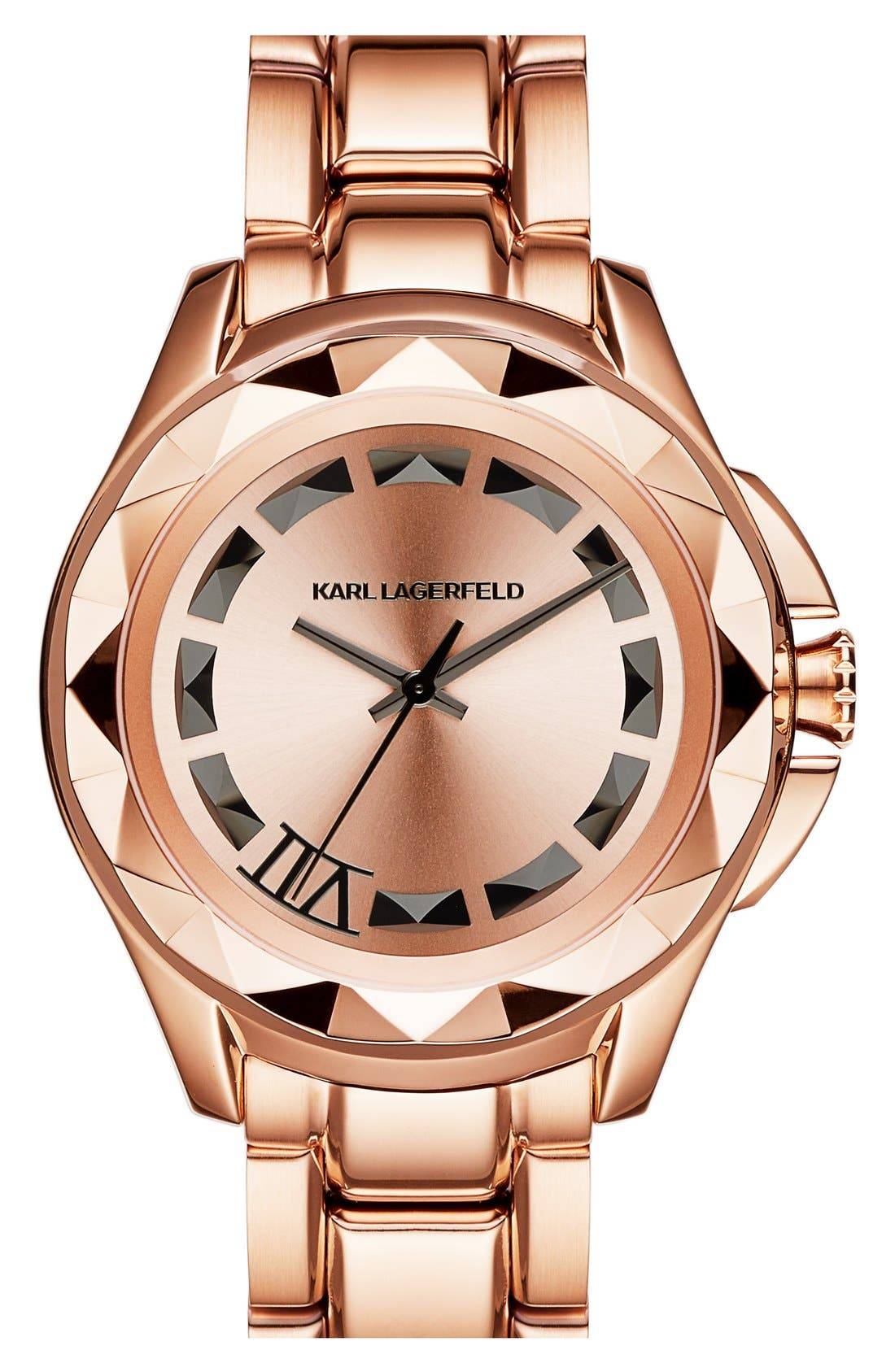 Main Image - KARL LAGERFELD '7' Faceted Bezel Bracelet Watch, 44mm (Nordstrom Online Exclusive)