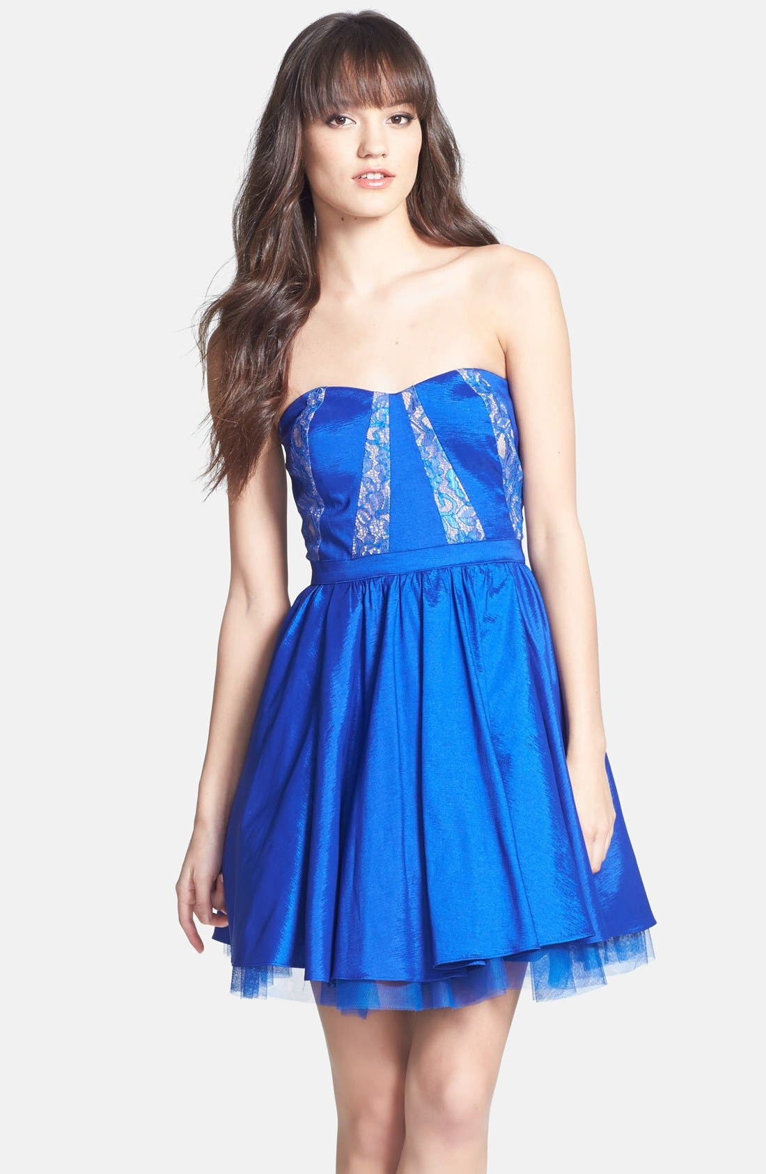 Main Image - Aidan Mattox Strapless Lace Trim Taffeta Dress (Online Only)